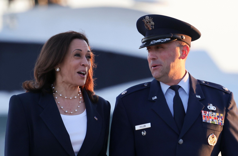 U.S. Vice President Kamala Harris speaks to Lt. Col Richard