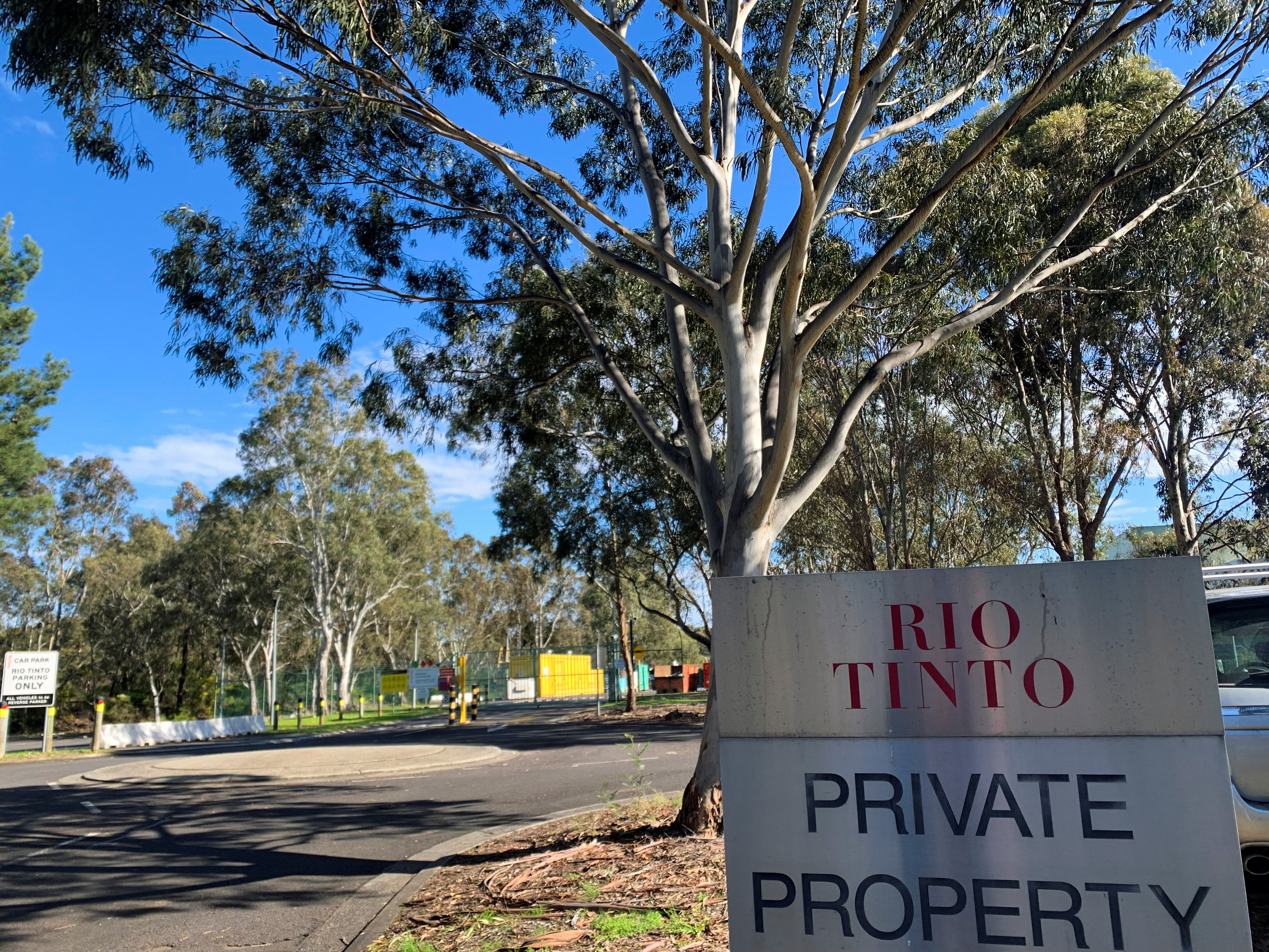 A sign heralds the entrance way to Rio Tinto's research and development hub in Bundoora on the outskirts of Melbourne, Australia July 30, 2021. REUTERS/Melanie Burton