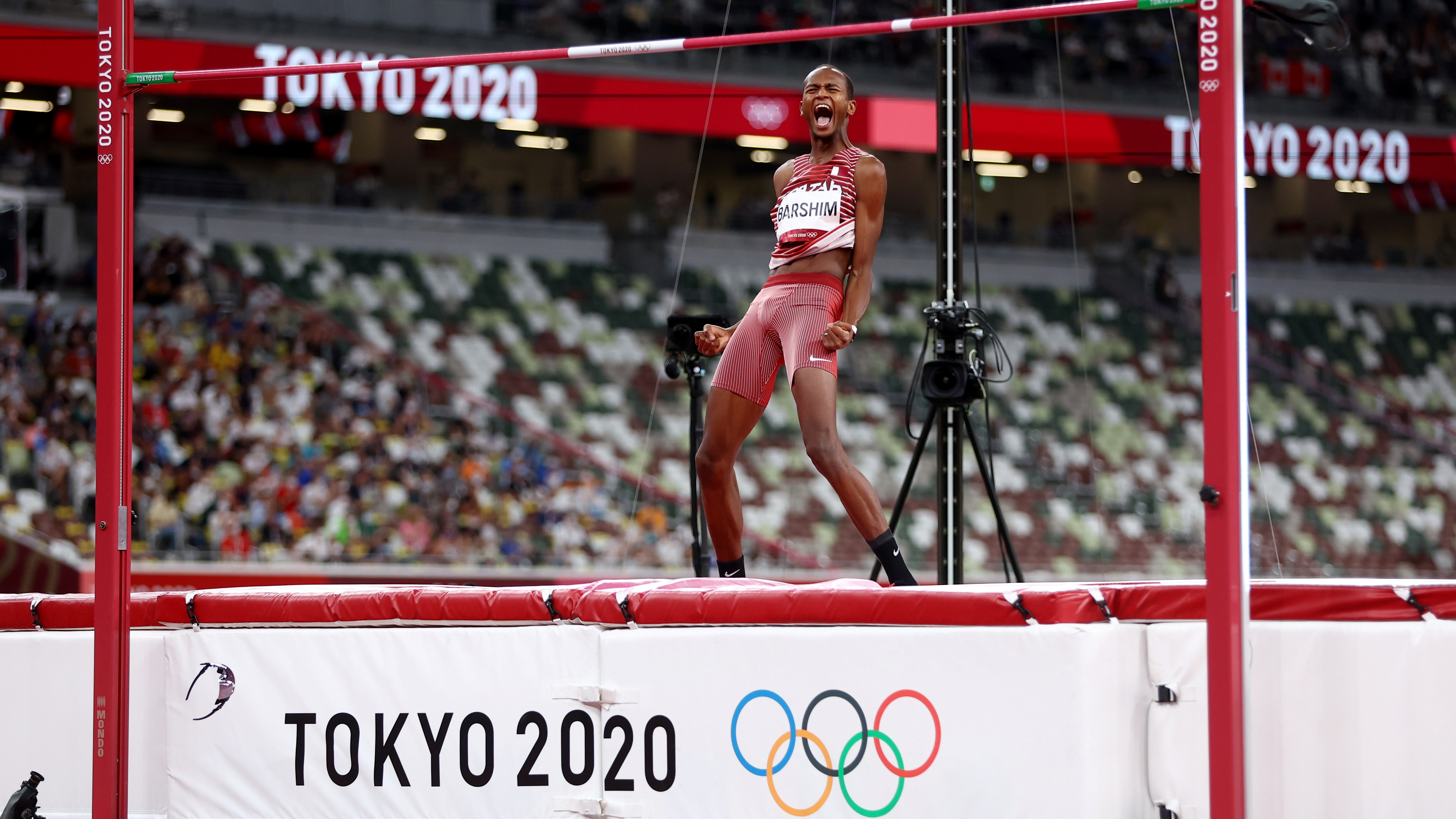 Tokyo 2020 Olympics - Athletics - Men's High Jump - Final- OLS - Olympic Stadium, Tokyo, Japan – August 1, 2021. Mutaz Essa Barshim of Qatar celebrates after his jump REUTERS/Kai Pfaffenbach