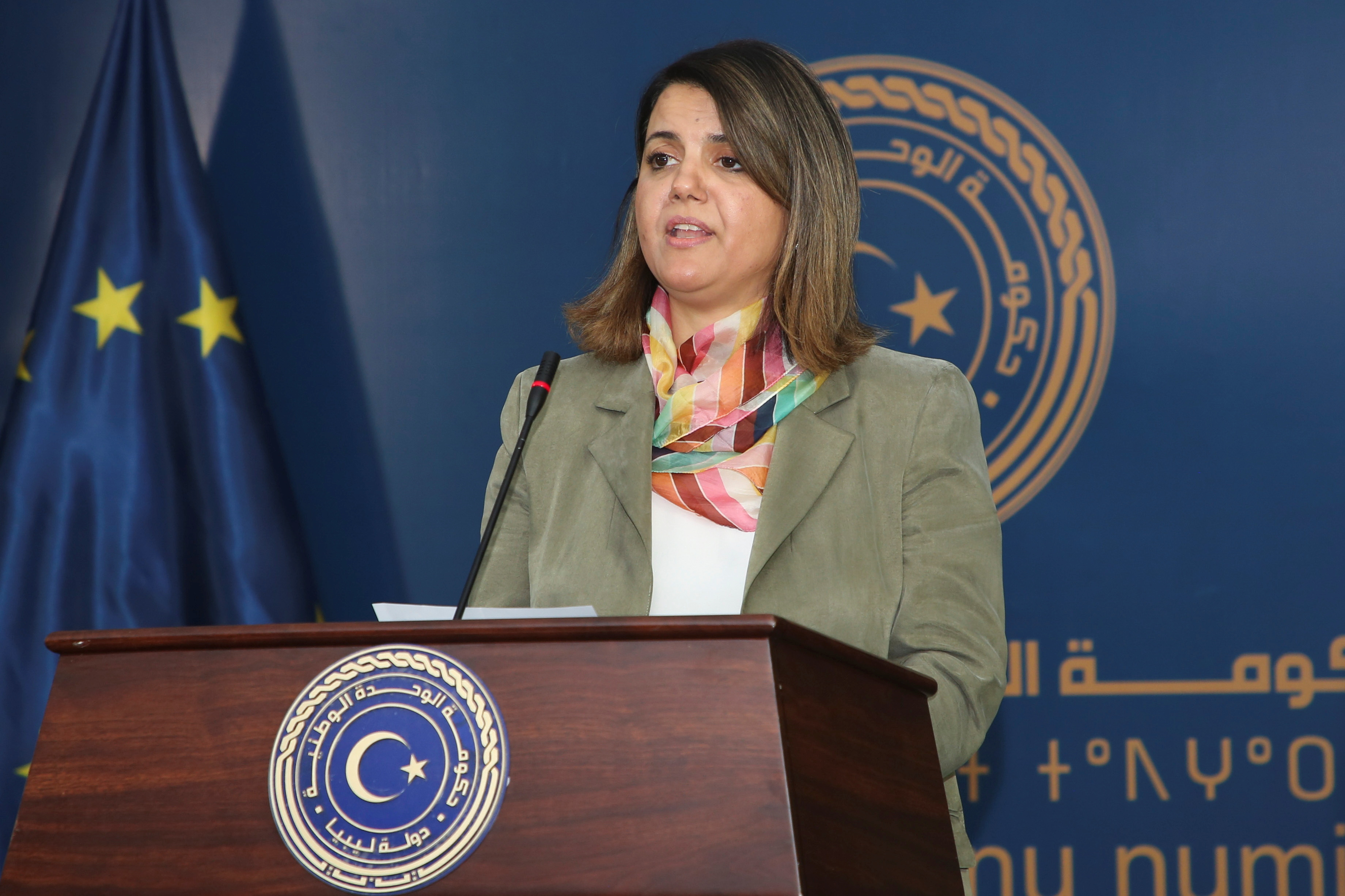 Libyan Foreign Minister Najla el-Mangoush speaks as she and European Council President Charles Michel deliver a joint statement, in Tripoli, Libya, April 4, 2021. REUTERS/Hazem Ahmed