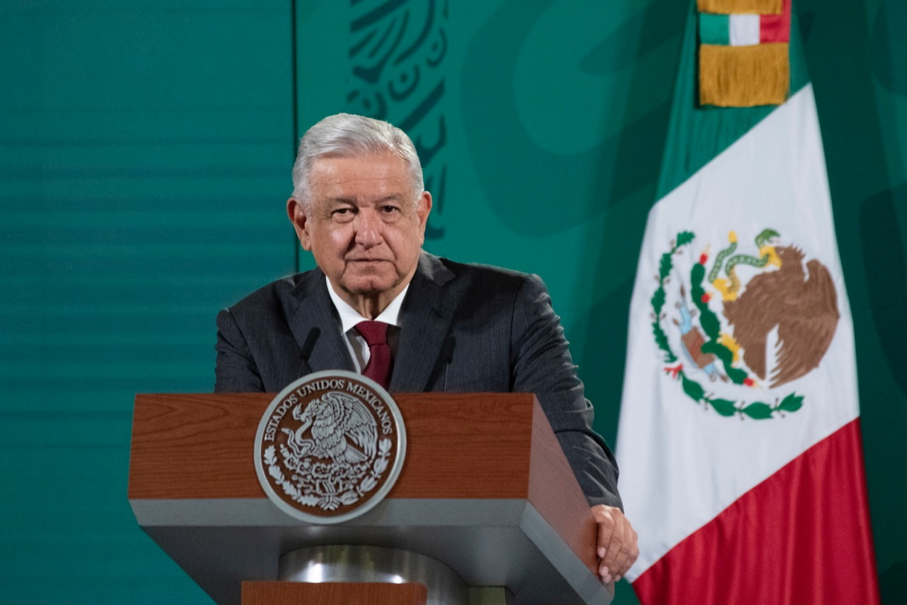 Mexican President Andres Manuel Lopez Obrador attends a news conference at the National Palace in Mexico City, Mexico October 7, 2021. Mexico's Presidency/Handout via REUTERS