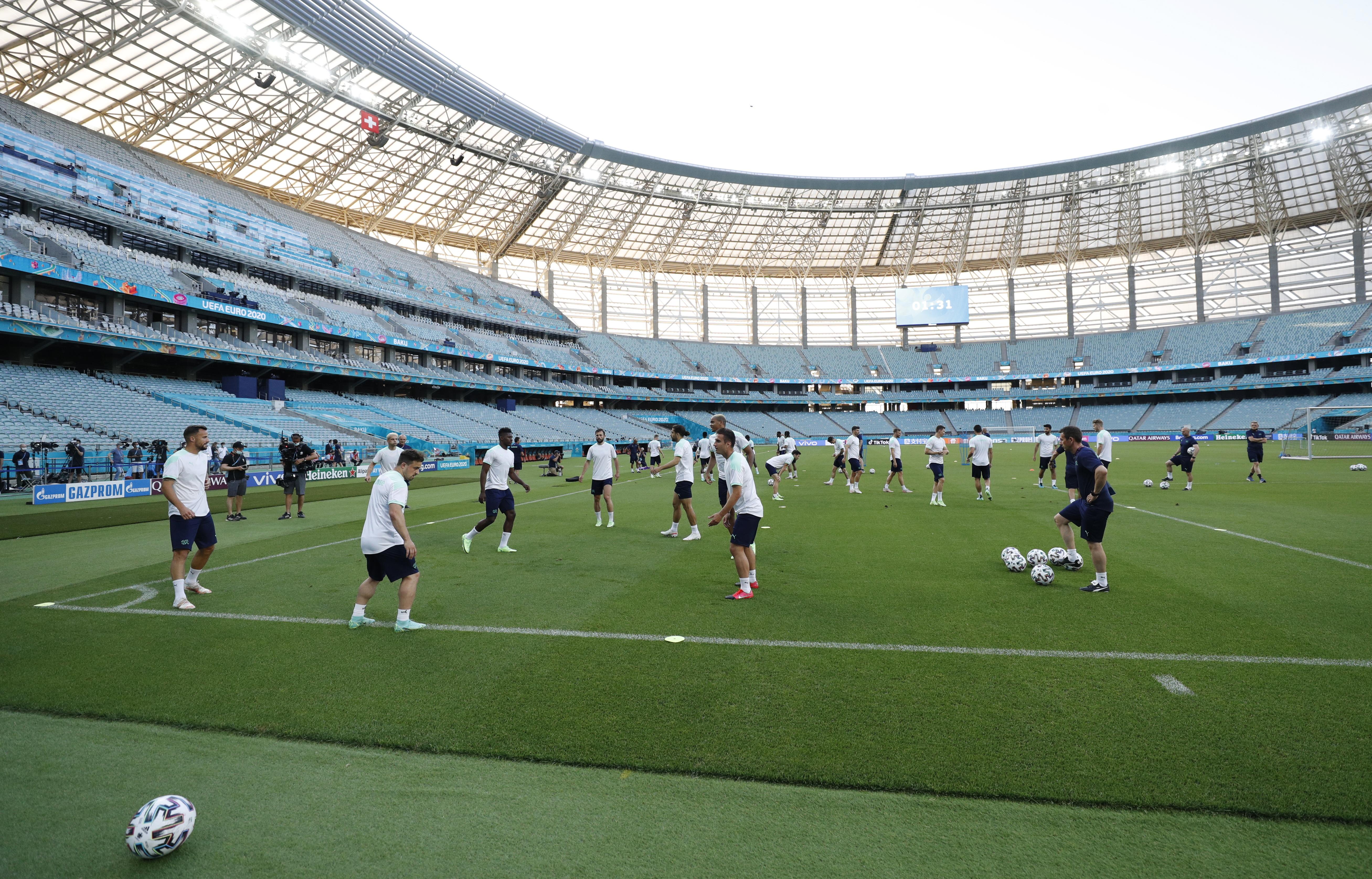 Soccer Football - Euro 2020 - Switzerland Training - Baku Olympic Stadium, Baku, Azerbaijan - June 19, 2021 General view during training REUTERS/Valentyn Ogirenko