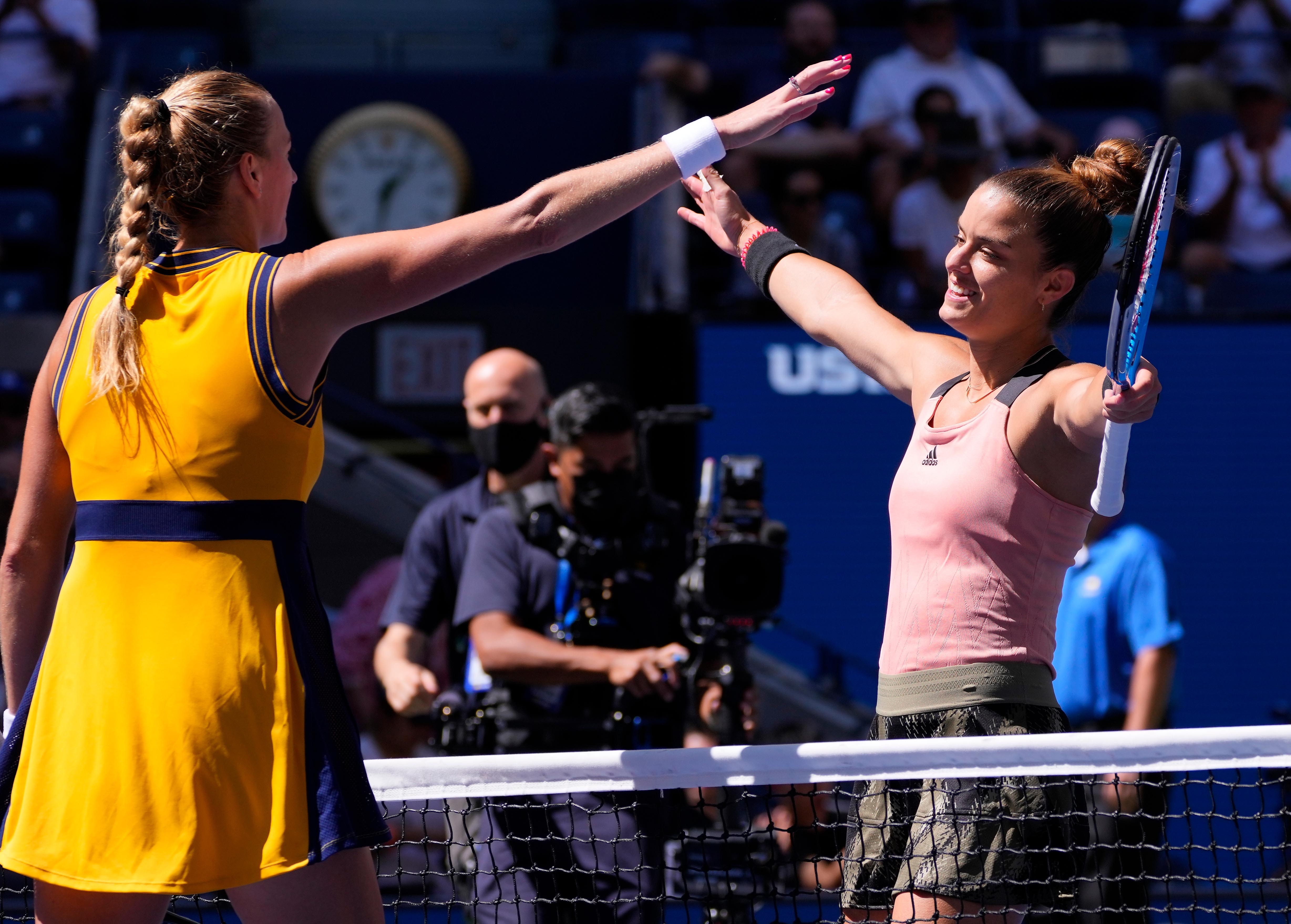 Sep 4, 2021; Flushing, NY, USA; Maria Sakkari of Greece, right, greets Petra Kvitova of the Czech Republic after their third round match on day six of the 2021 U.S. Open tennis tournament at USTA Billie Jean King National Tennis Center. Mandatory Credit: Robert Deutsch-USA TODAY Sports