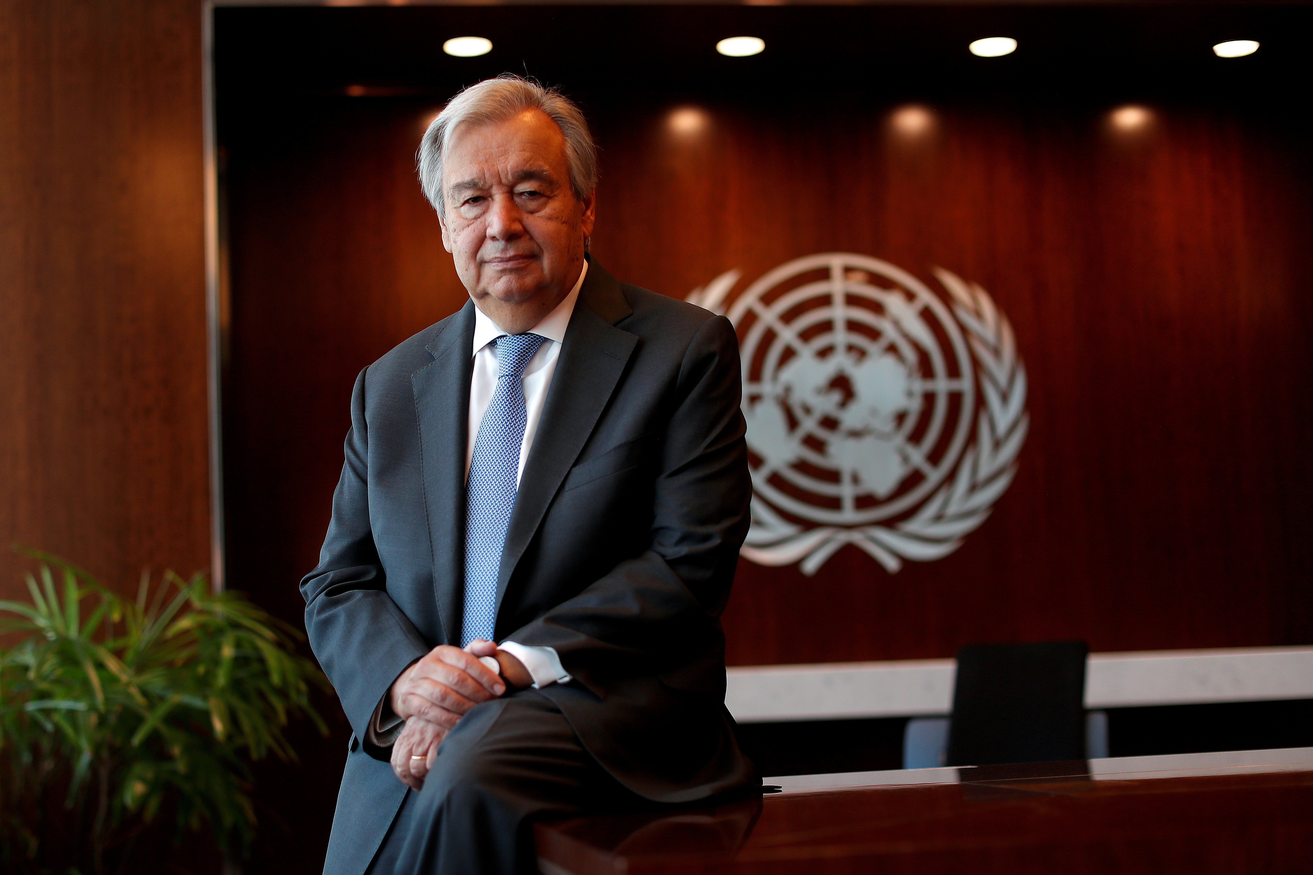 United Nations Secretary-General Antonio Guterres poses for a photograph during an interview with Reuters at U.N. headquarters in New York City, New York, U.S., September 14, 2020. REUTERS/Mike Segar/File Photo