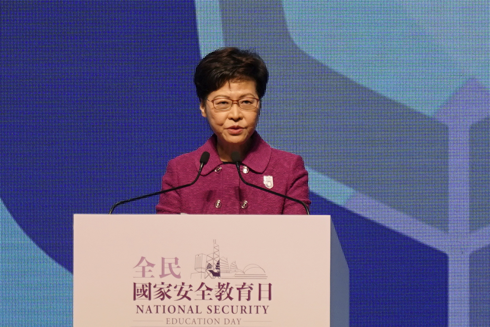 Hong Kong Chief Executive Carrie Lam speaks at a ceremony marking the National Security Education Day in Hong Kong, China April 15, 2021. REUTERS/Lam Yik