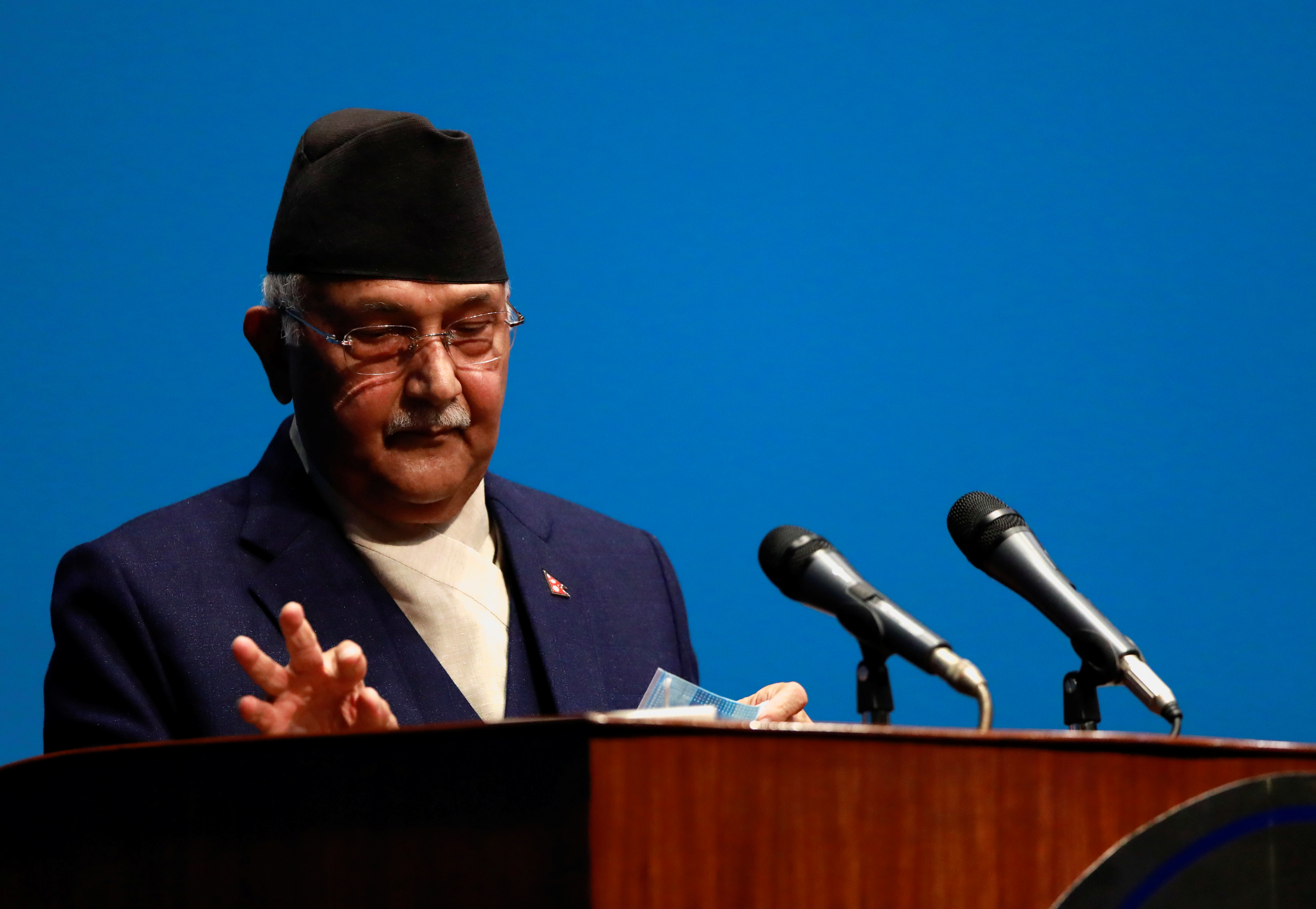 Nepal's Prime Minister Khadga Prasad Sharma Oli, also known as K.P. Oli, delivers a speech before a confidence vote at the parliament in Kathmandu, Nepal May 10, 2021. REUTERS/Navesh Chitrakar
