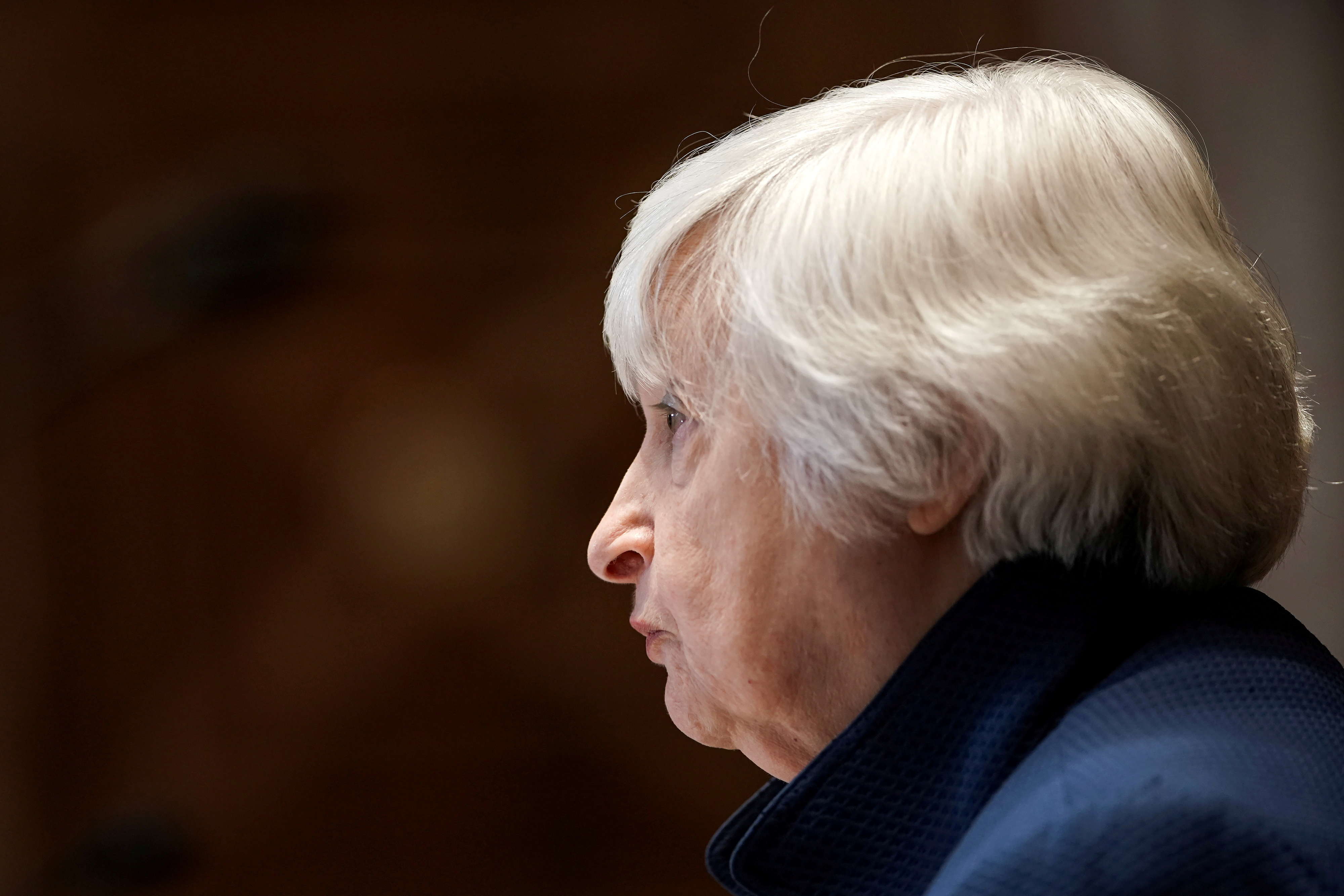 U.S. Treasury Secretary Janet Yellen looks on during the Senate Appropriations Subcommittee hearing to examine the FY22 budget request for the Treasury Department on Capitol Hill in Washington, DC, U.S., June 23, 2021.  Greg Nash/Pool via REUTERS/File Photo - RC2ZGO95RAXX
