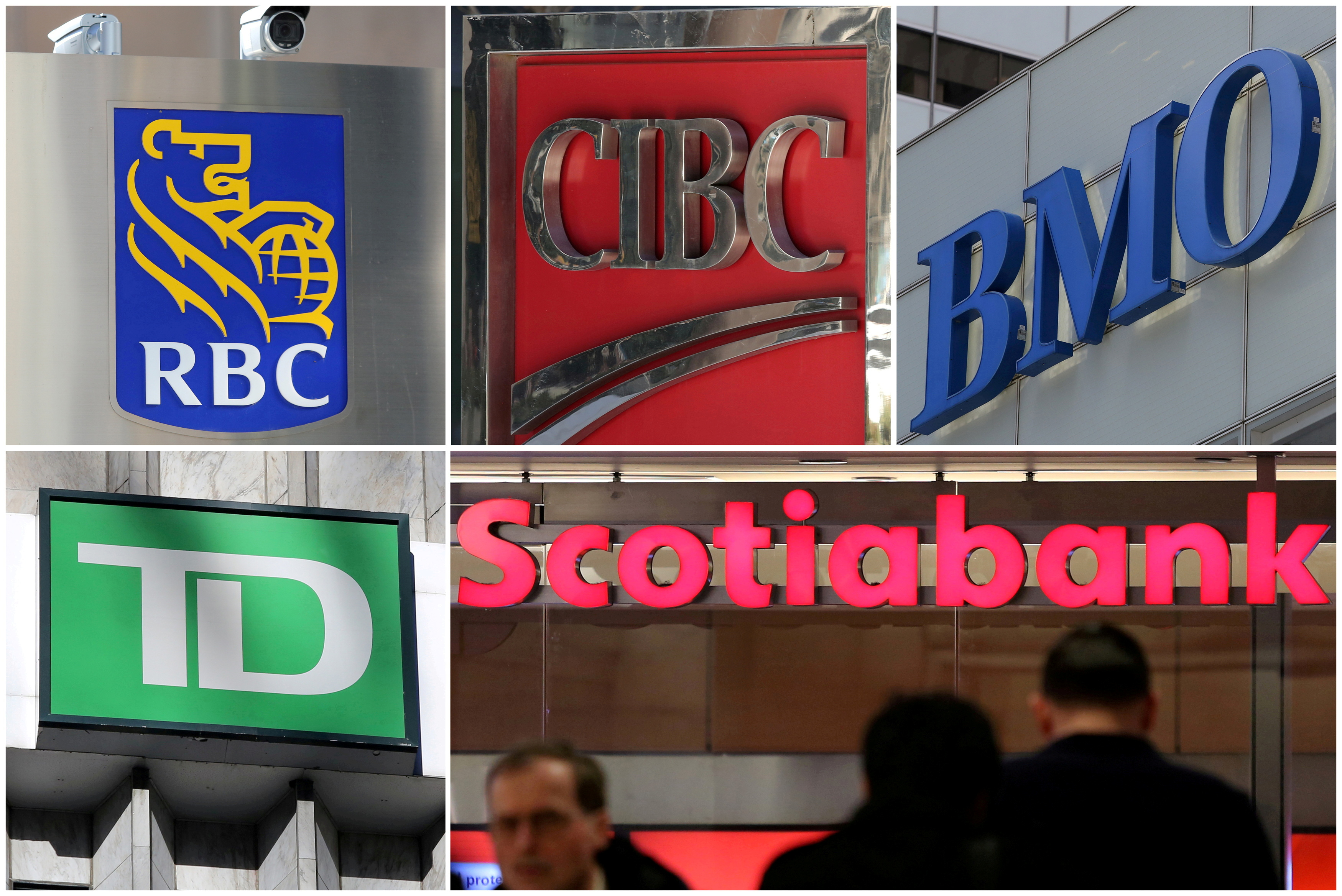 A combination photo shows Canadian banks RBC, CIBC, BMO, TD and Scotiabank in Toronto, Ontario, Canada on March 16, 2017. REUTERS/Chris Helgren