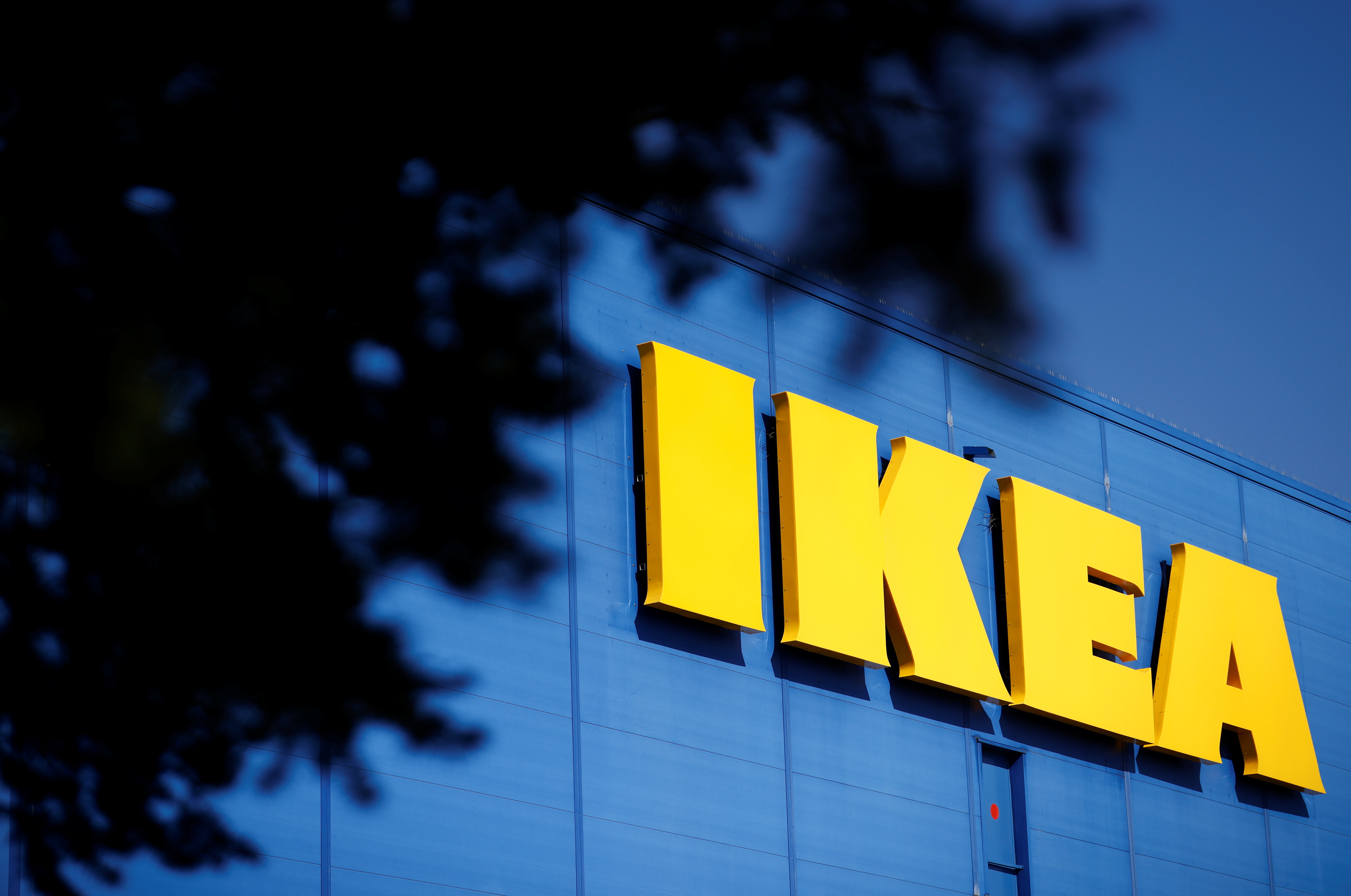 The company's logo is seen outside of an IKEA Group store in Saint-Herblain near Nantes, France, March 22, 2021. REUTERS/Stephane Mahe/Files