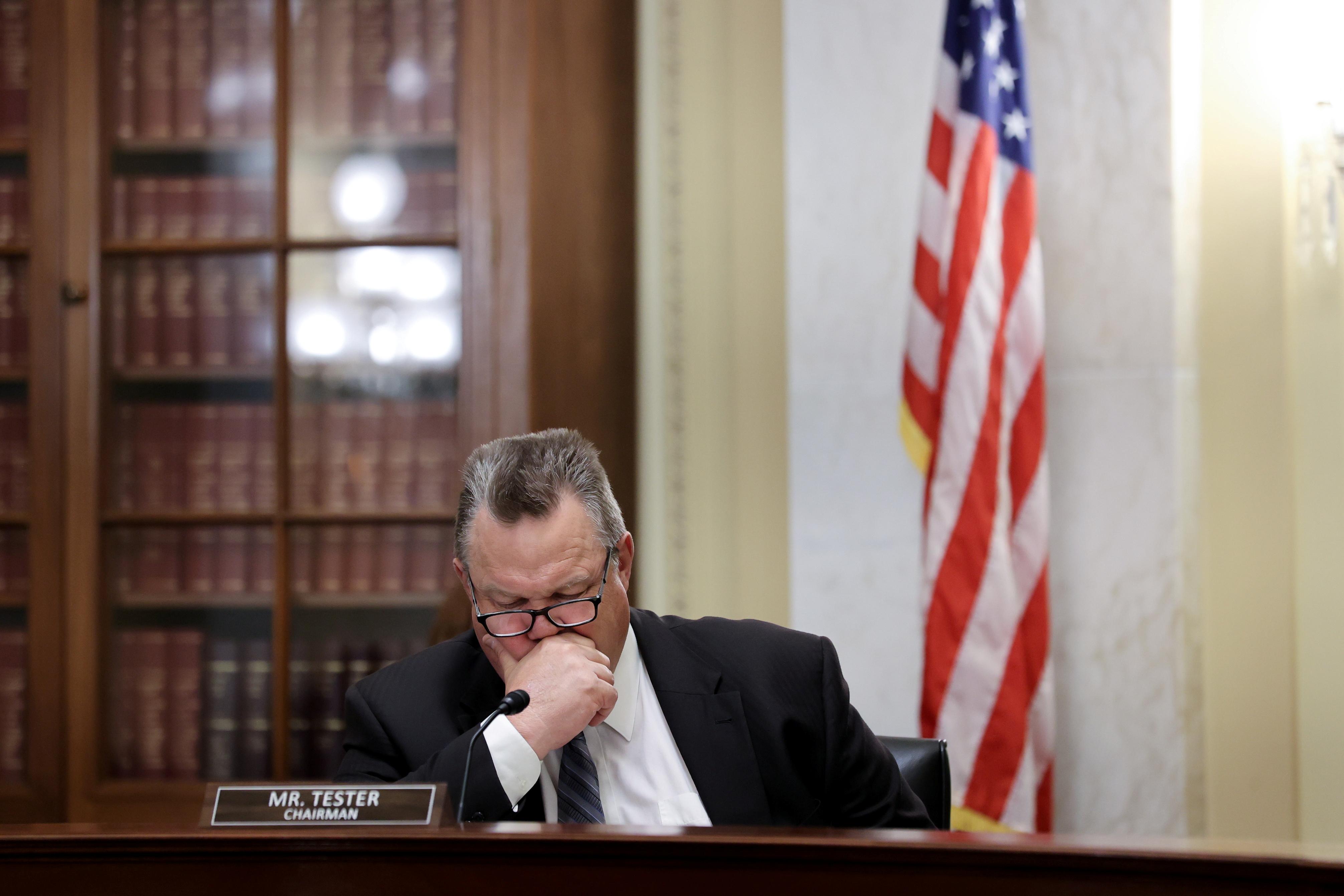 U.S. Senator Jon Tester (D-MT) chairs a Veterans Affairs Committee hearing on Capitol Hill in Washington, U.S. June 9, 2021.  REUTERS/Jonathan Ernst