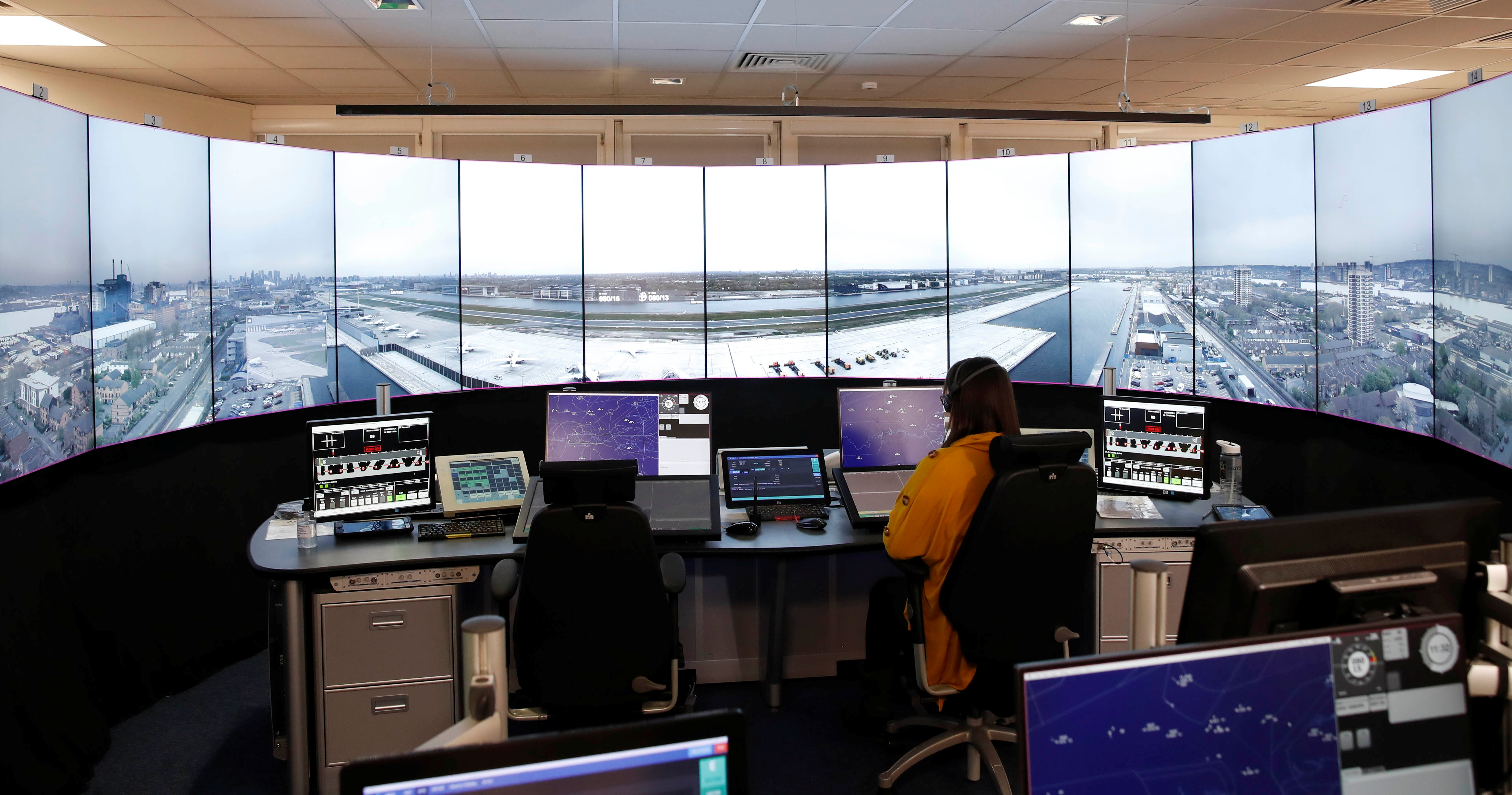 A view of NATS air traffic control as London City Airport is set to become the first major international airport to operate a remote control tower, in Swanwick, Britain, April 28, 2021. Picture taken April 28, 2021. REUTERS/Matthew Childs