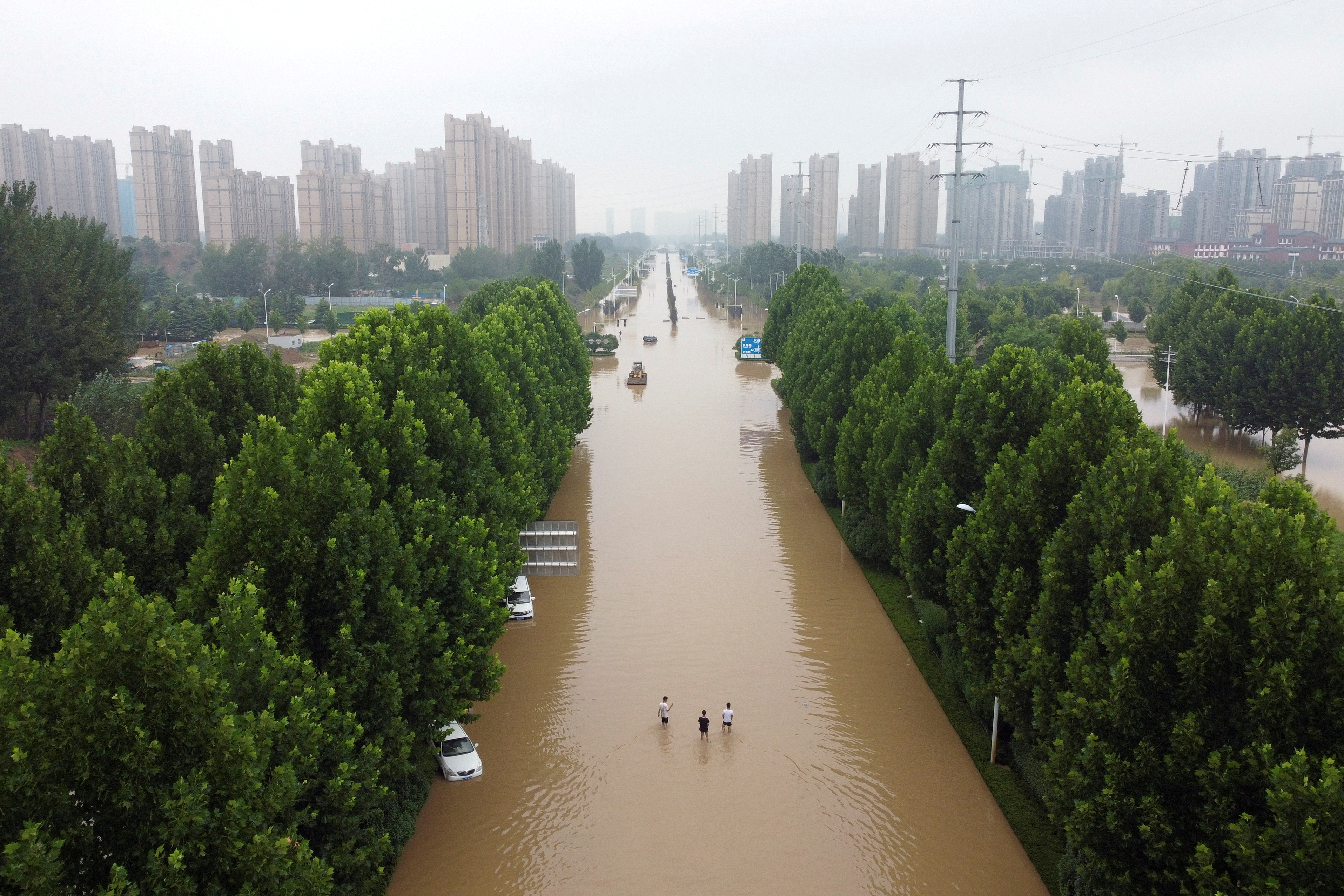 An aerial view shows a flooded road following heavy rainfall in Zhengzhou, Henan province, China July 23, 2021. Picture taken with a drone. REUTERS/Aly Song/File Photo