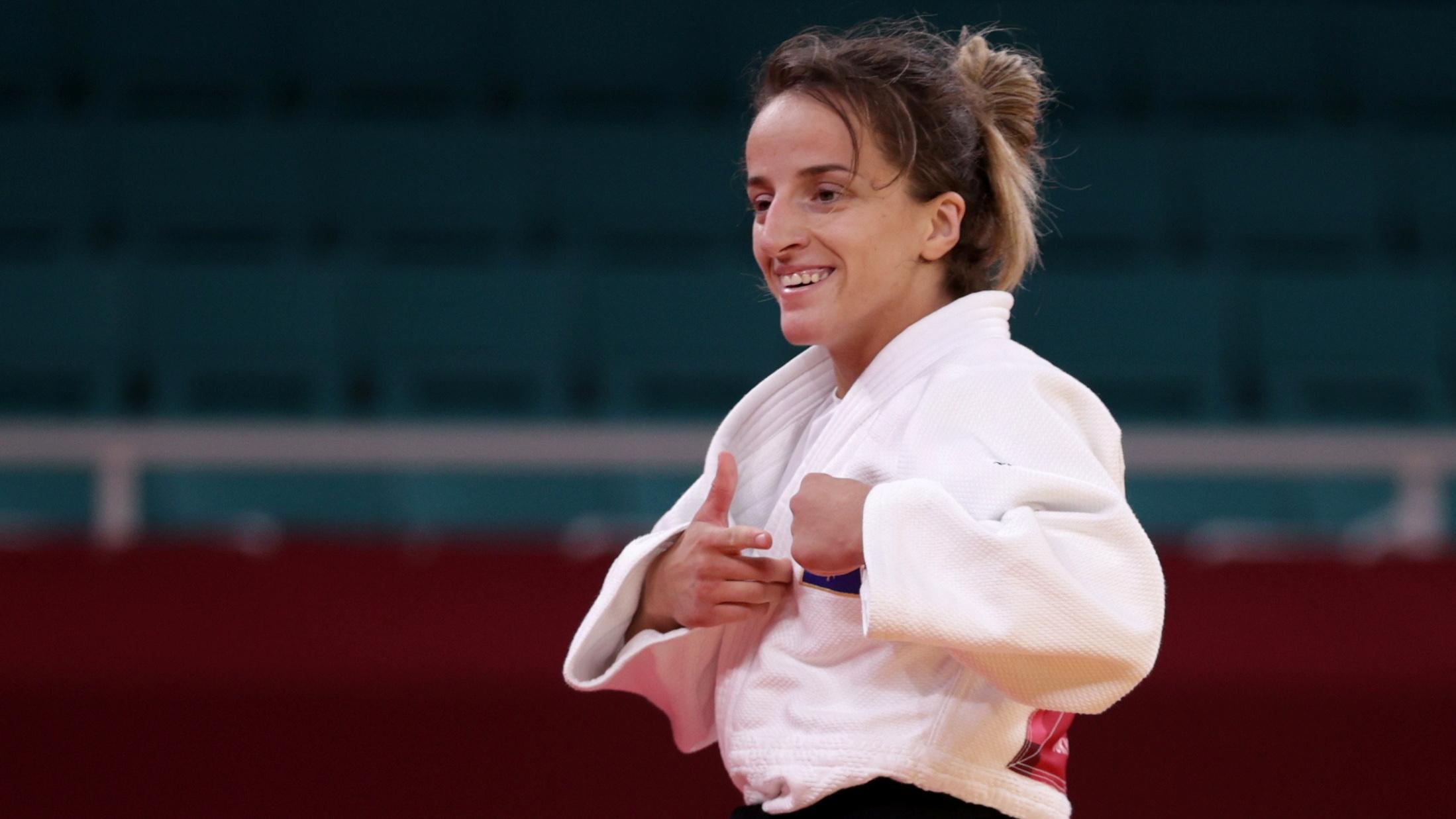 Tokyo 2020 Olympics - Judo -  Women's 48kg - Semifinal - Nippon Budokan - Tokyo, Japan - July 24, 2021. Distria Krasniqi of Kosovo reacts after winning REUTERS/Hannah Mckay