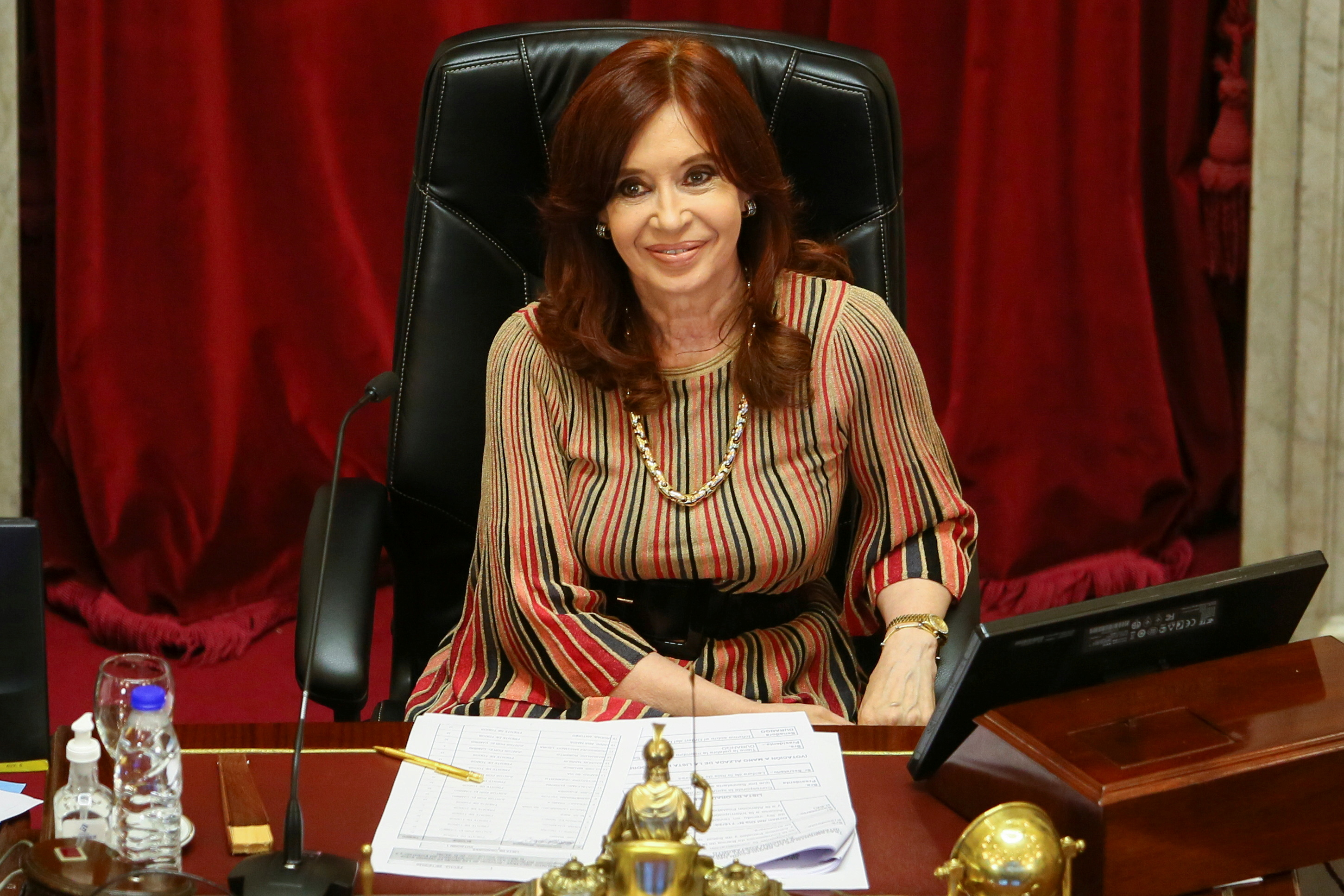 Argentine Vice-President and President of the Senate, Cristina Fernandez de Kirchner looks on as senators debate an abortion bill in Buenos Aires, Argentina, December 29, 2020. REUTERS/Matias Baglietto/File Photo