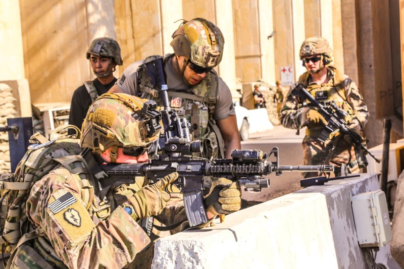 U.S. Army soldiers from 1st Brigade, 25th Infantry Division, Task Force-Iraq, man a defensive position at Forward Operating Base Union III in Baghdad, Iraq, December 31, 2019. U.S. Army/Staff Sgt. Desmond Cassell/Task Force-Iraq Public Affairs/Handout via REUTERS.