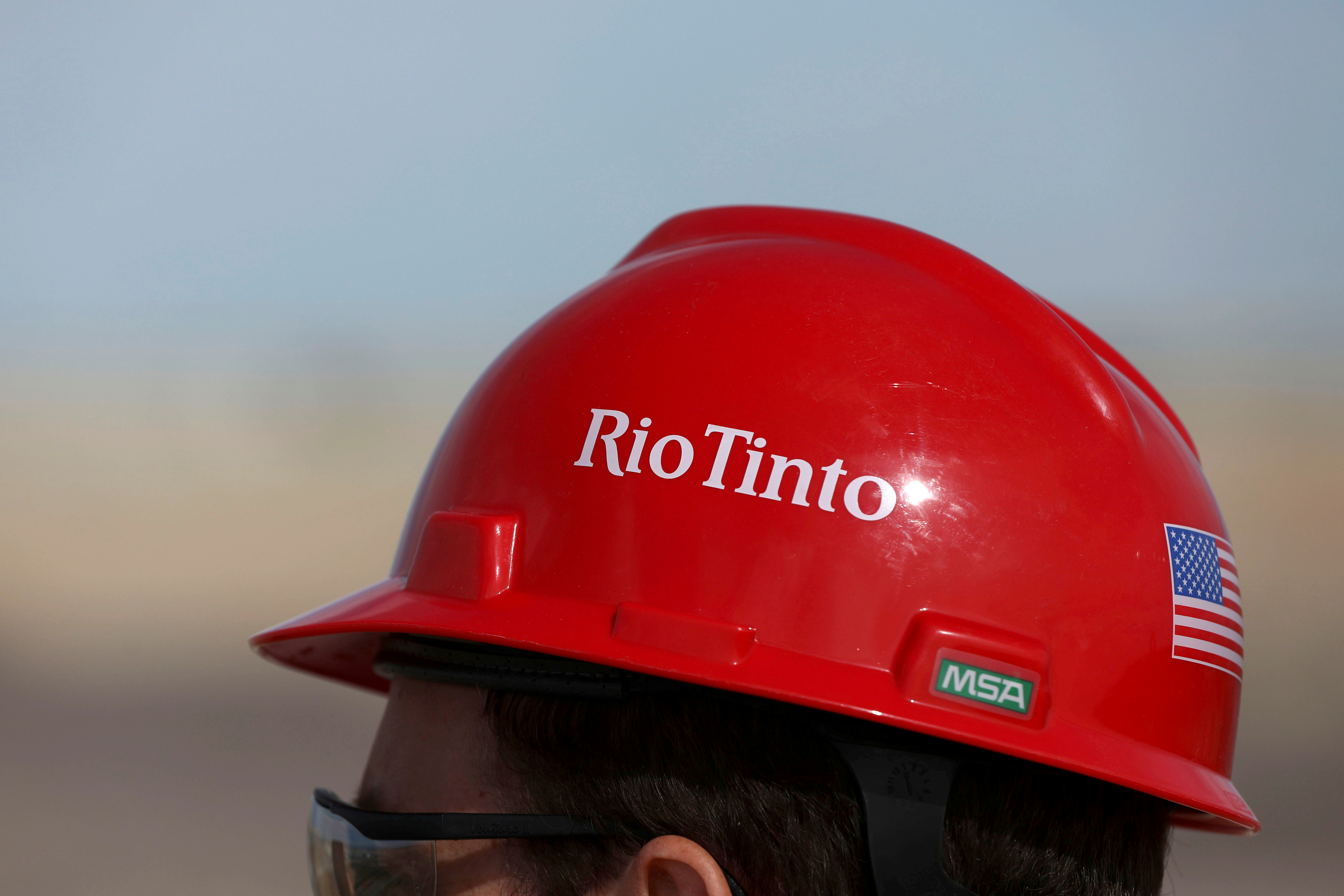 The Rio Tinto logo is displayed on a visitor's helmet at a borates mine in Boron, California, U.S., November 15, 2019. REUTERS/Patrick T. Fallon