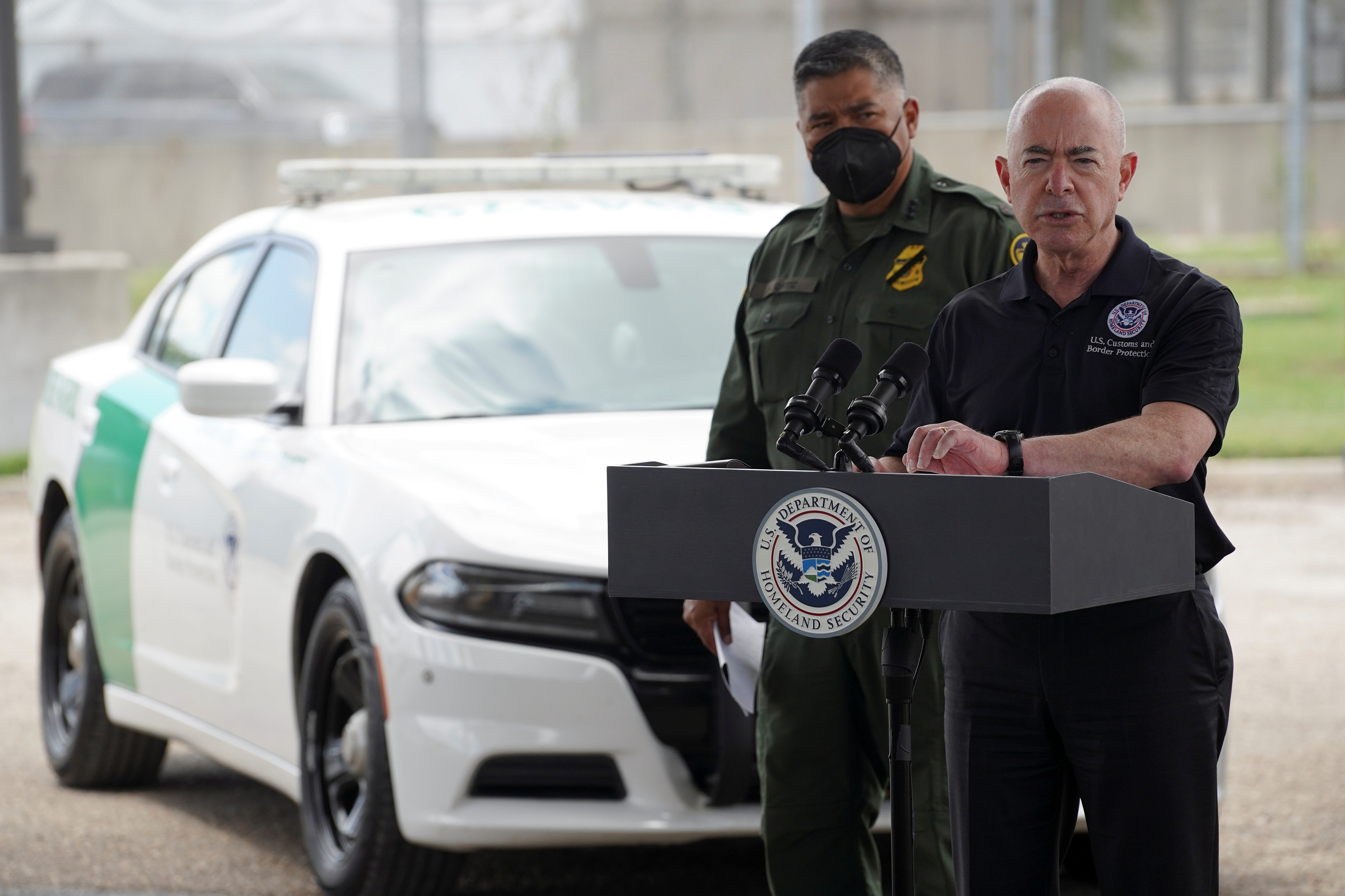 U.S. Secretary of Homeland Security Alejandro Mayorkas attends a news conference along with U.S. Border Patrol (USBP) Deputy Chief Raul Ortiz, who is soon to be appointed as USBP Chief, at Border Patrol Fort Brown Station in Brownsville, Texas, U.S., August 12, 2021. REUTERS/Go Nakamura