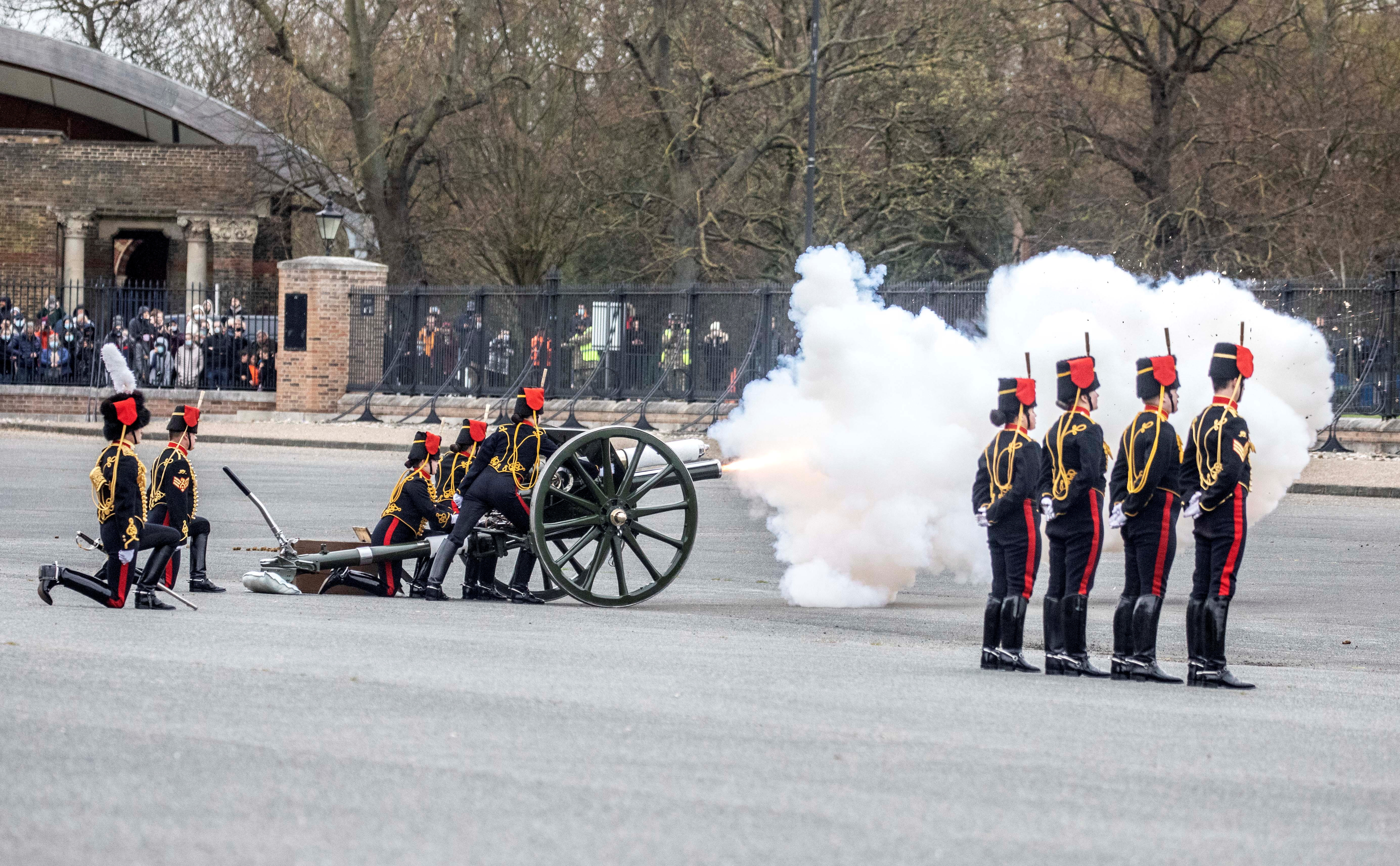 Members of The King's Troop Royal Horse Artillery fire a gun salute to mark the death of Britain's Prince Philip, husband of Queen Elizabeth, at the Parade Ground, Woolwich Barracks in central London, Britain April 10, 2021. Richard Pohle/Pool via REUTERS