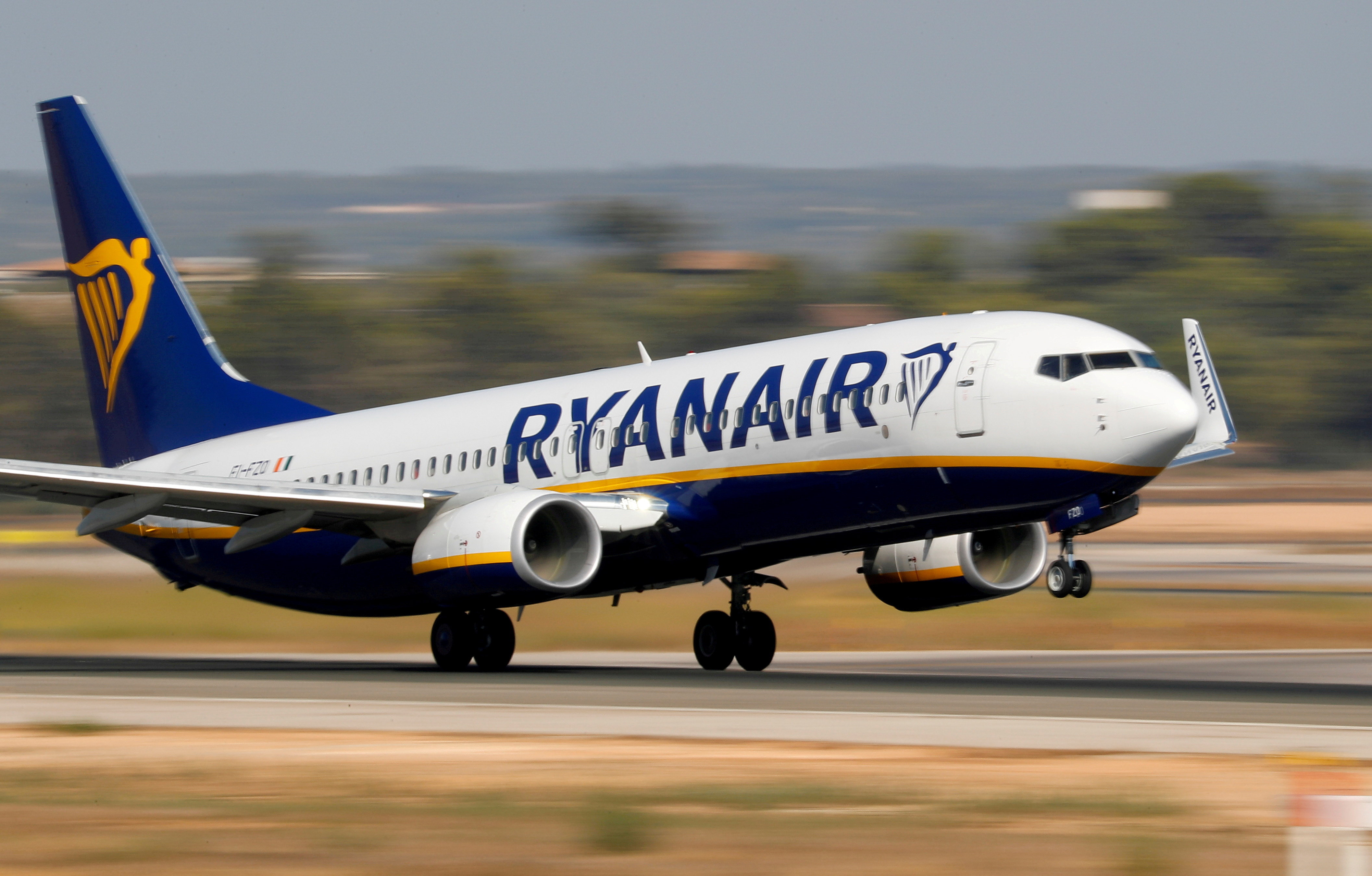 A Ryanair Boeing 737-800 airplane takes off from the airport in Palma de Mallorca, Spain, July 29, 2018.  REUTERS/Paul Hanna/File Photo