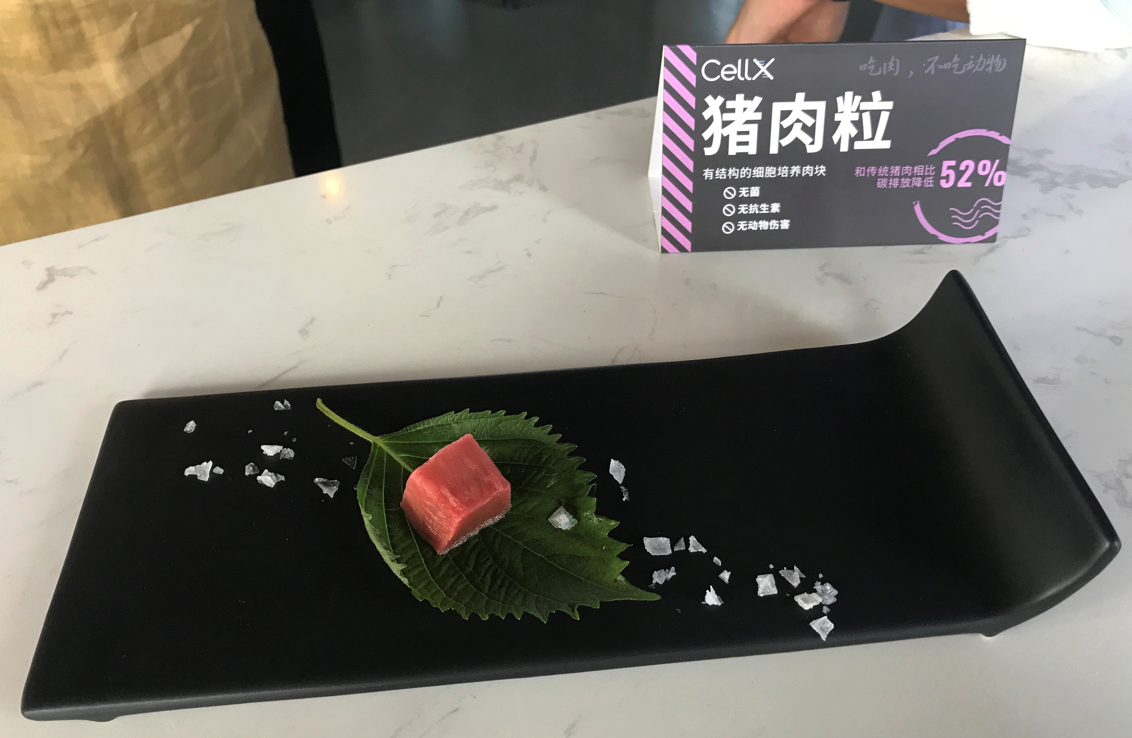 A piece of pork meat cultivated in a lab is displayed during an event by CellX, a cultivated meat startup, to introduce product prototypes in Shanghai, China September 3, 2021. REUTERS/Emily Chow