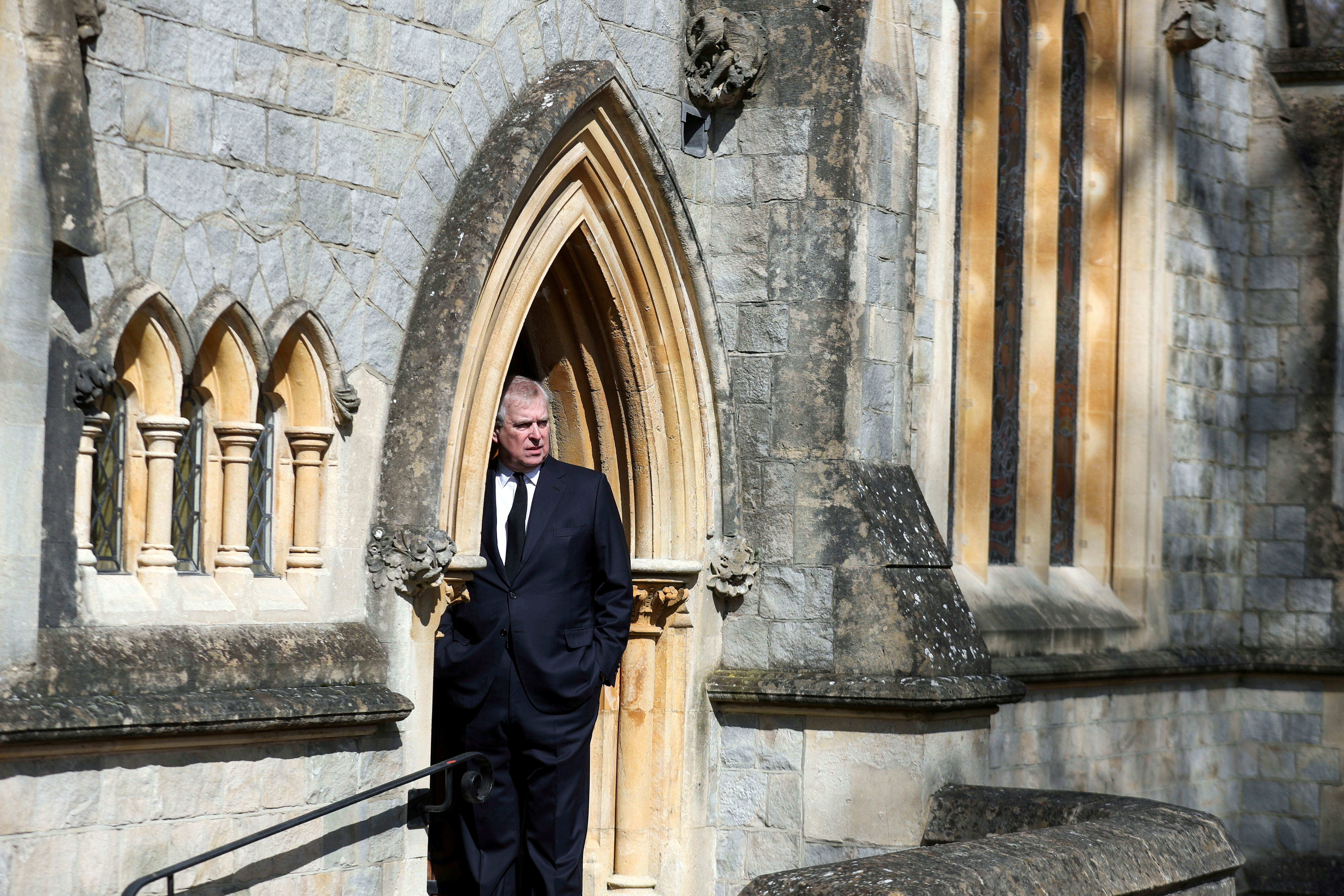 Britain's Prince Andrew attends Sunday service at the Royal Chapel of All Saints at Windsor Great Park, Britain following Friday's death of his father Prince Philip at age 99, April 11, 2021. Steve Parsons/PA Wire/Pool via REUTERS