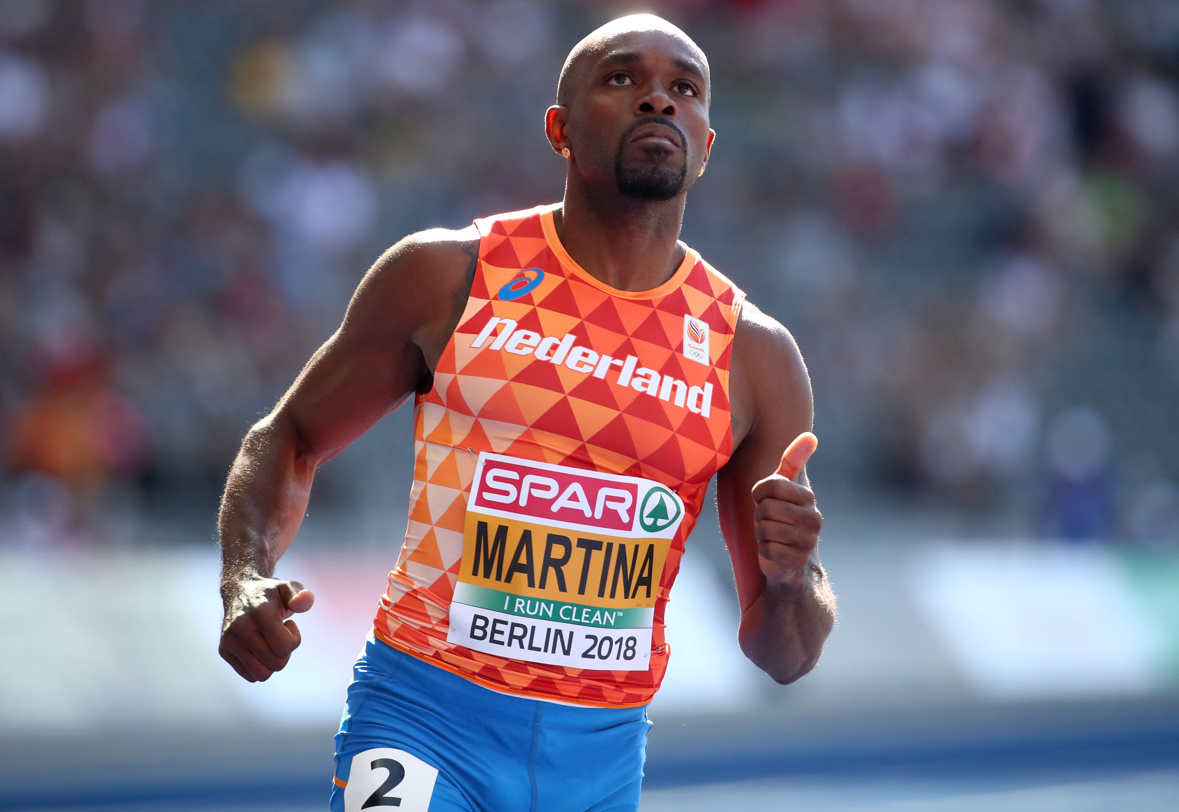 2018 European Championships - Men's 100 meters, Round 1 - Olympic Stadium, Berlin, Germany - August 6, 2018 - Churandy Martina of the Netherlands competes. REUTERS/Michael Dalder