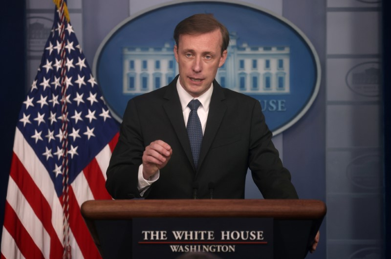 White House National Security Adviser Jake Sullivan takes questions during a press briefing at the White House in Washington, U.S., June 7, 2021. REUTERS/Leah Millis