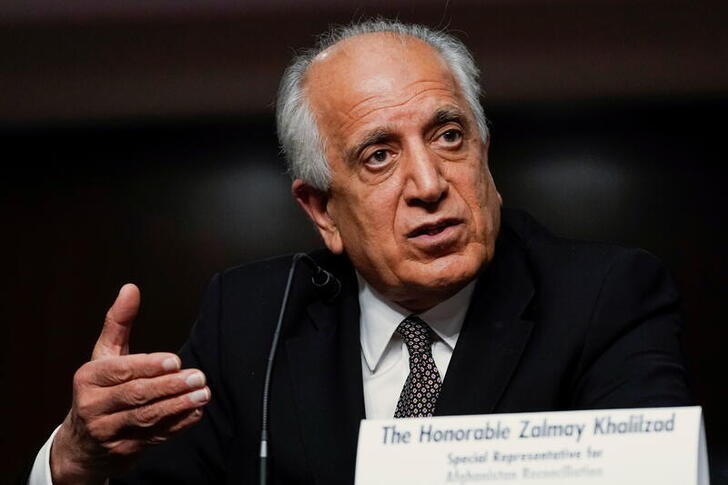 Zalmay Khalilzad, special envoy for Afghanistan Reconciliation, testifies before the Senate Foreign Relations Committee during a hearing on Capitol Hill in Washington, U.S., April 27, 2021. Susan Walsh/Pool via REUTERS