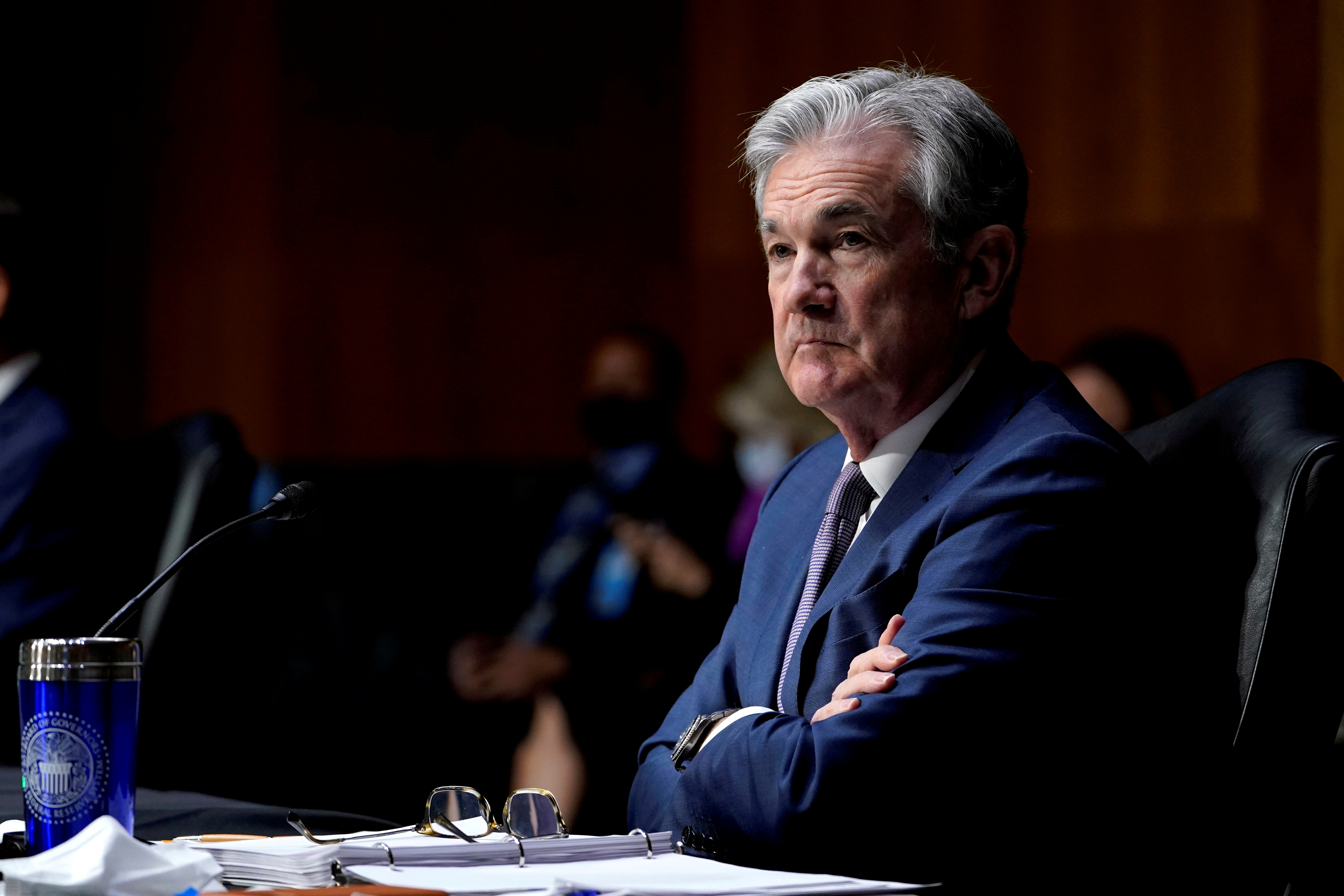 Chairman of the Federal Reserve Jerome Powell listens during a Senate Banking Committee hearing on