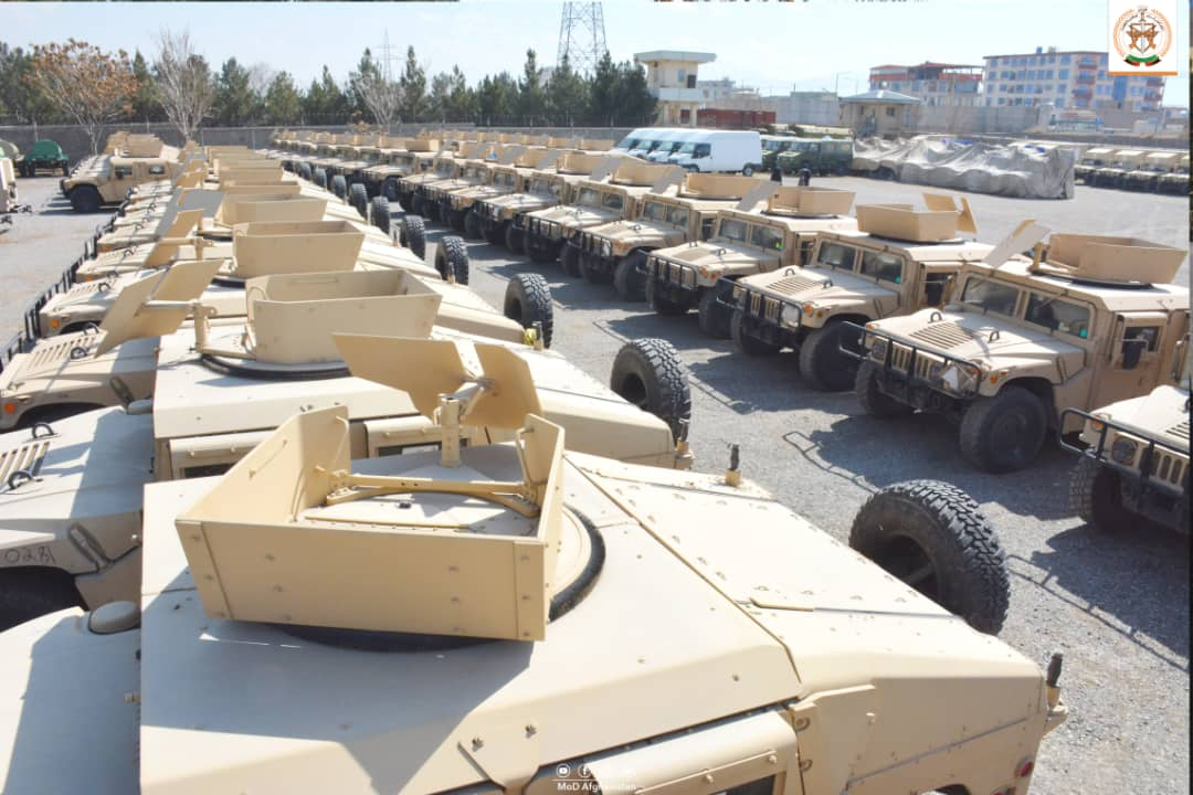 Military vehicles transferred by the U.S. to the Afghan National Army in February 2021.   Afghanistan Ministry of Defense/via REUTERS