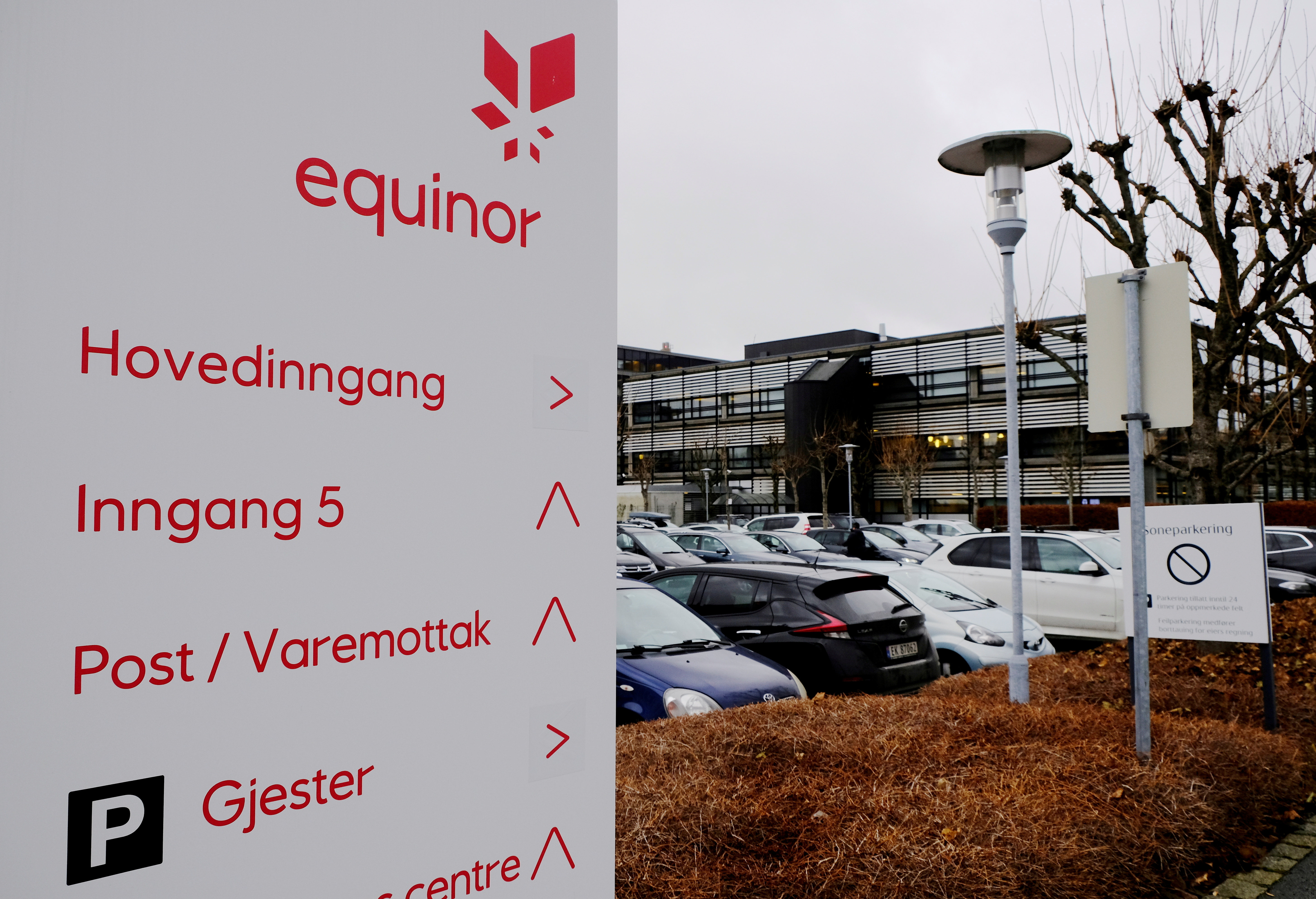 Equinor's logo is seen next to the company's headquarters in Stavanger, Norway December 5, 2019. REUTERS/Ints Kalnins