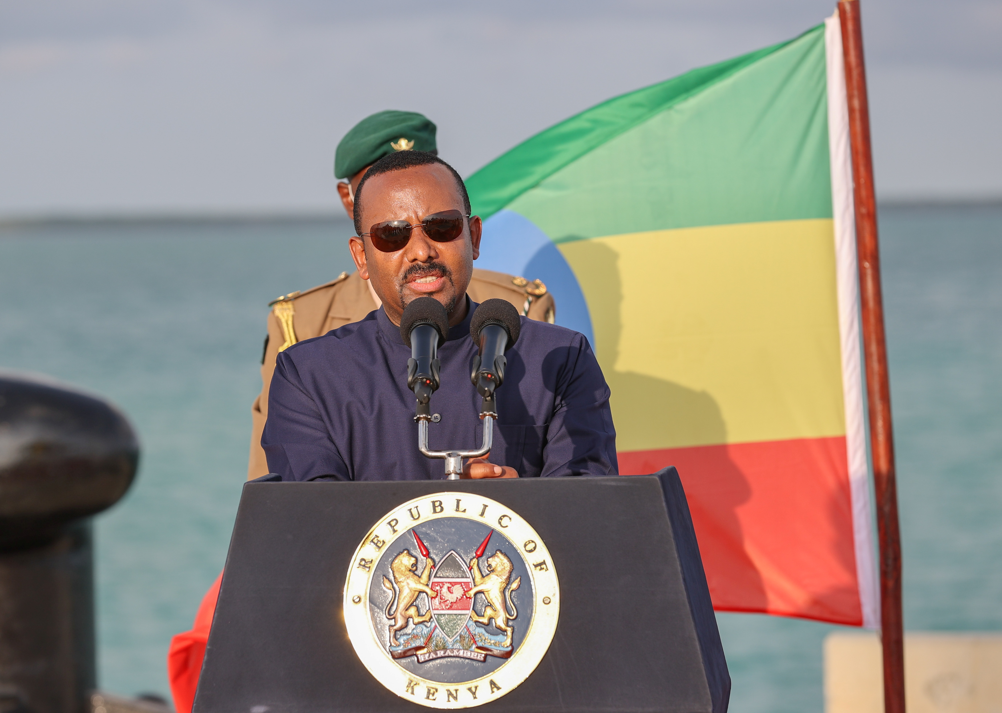 Ethiopian Prime Minister Abiy Ahmed address the media after inspecting ongoing developments at the new 32-berth Lamu Port in Lamu County, Kenya December 9, 2020. Presidential Press Service/Handout via REUTERS