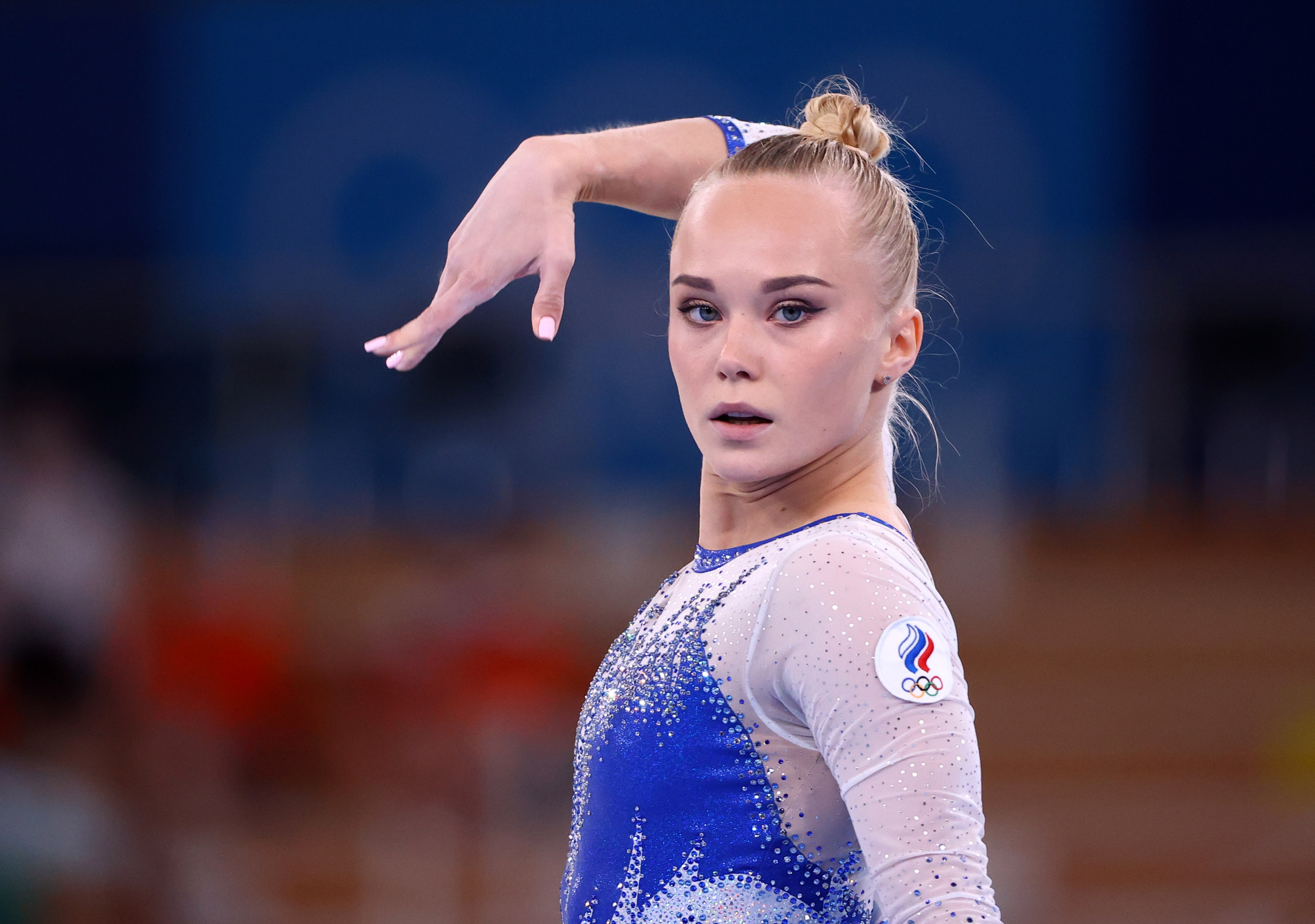 Tokyo 2020 Olympics - Gymnastics - Artistic - Women's Team - Final - Ariake Gymnastics Centre, Tokyo, Japan - July 27, 2021.  Angelina Melnikova of the Russian Olympic Committee in action during the floor exercise. REUTERS/Lindsey Wasson