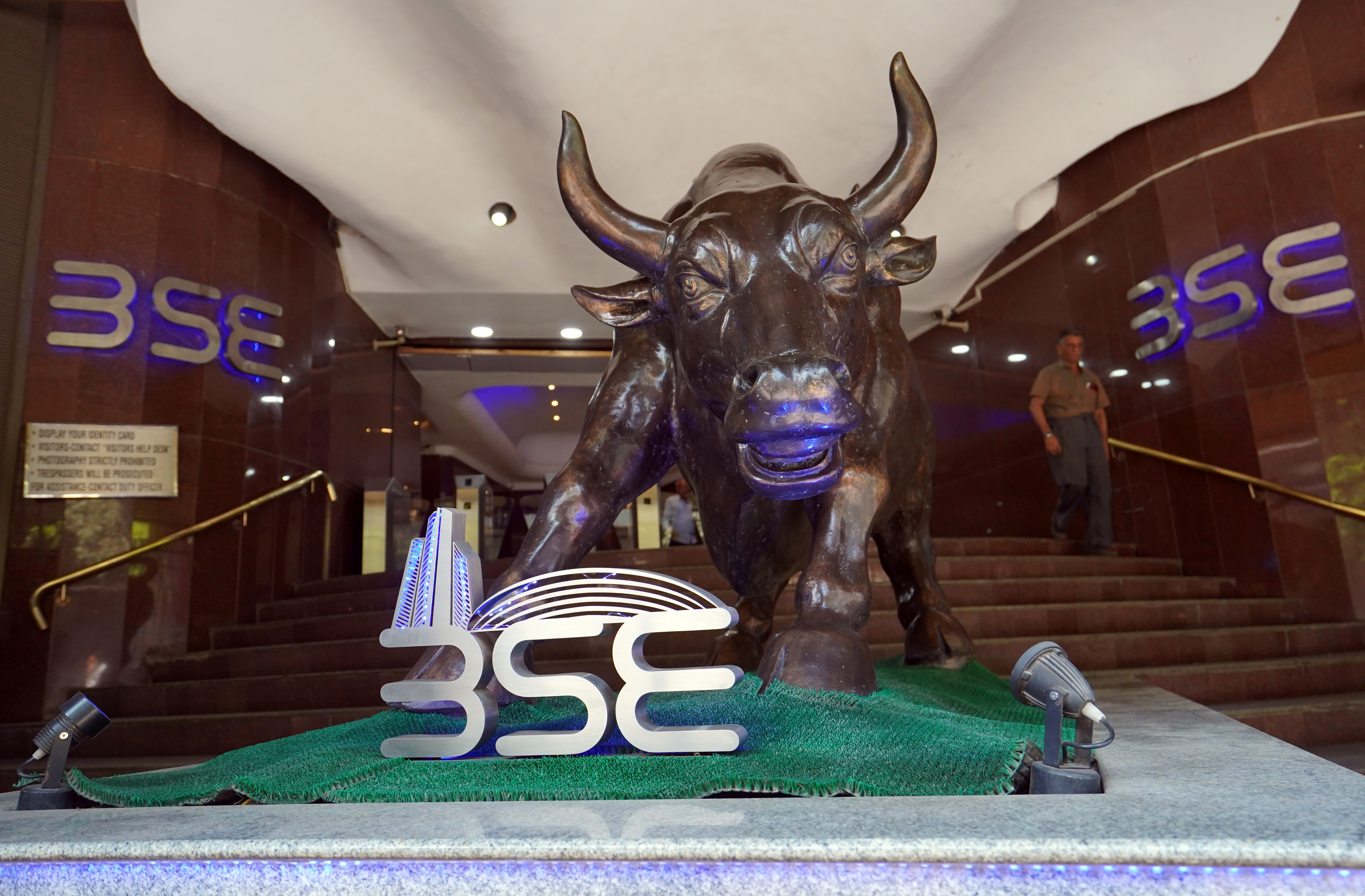 A man walks out of the Bombay Stock Exchange (BSE) building in Mumbai, India, February 28, 2020. REUTERS/Hemanshi Kamani