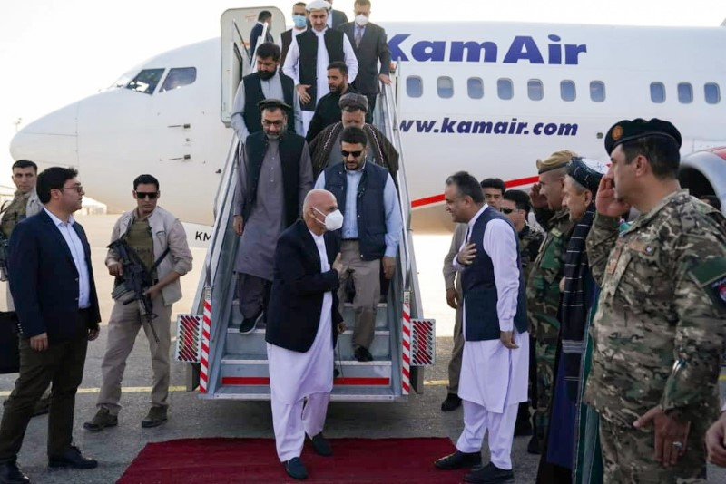 Afghanistan president Ashraf Ghani arrives in Mazar-i-Sharif to check the security situation of the northern provinces, Afghanistan August 11, 2021. Afghan presidential palace/Handout via REUTERS
