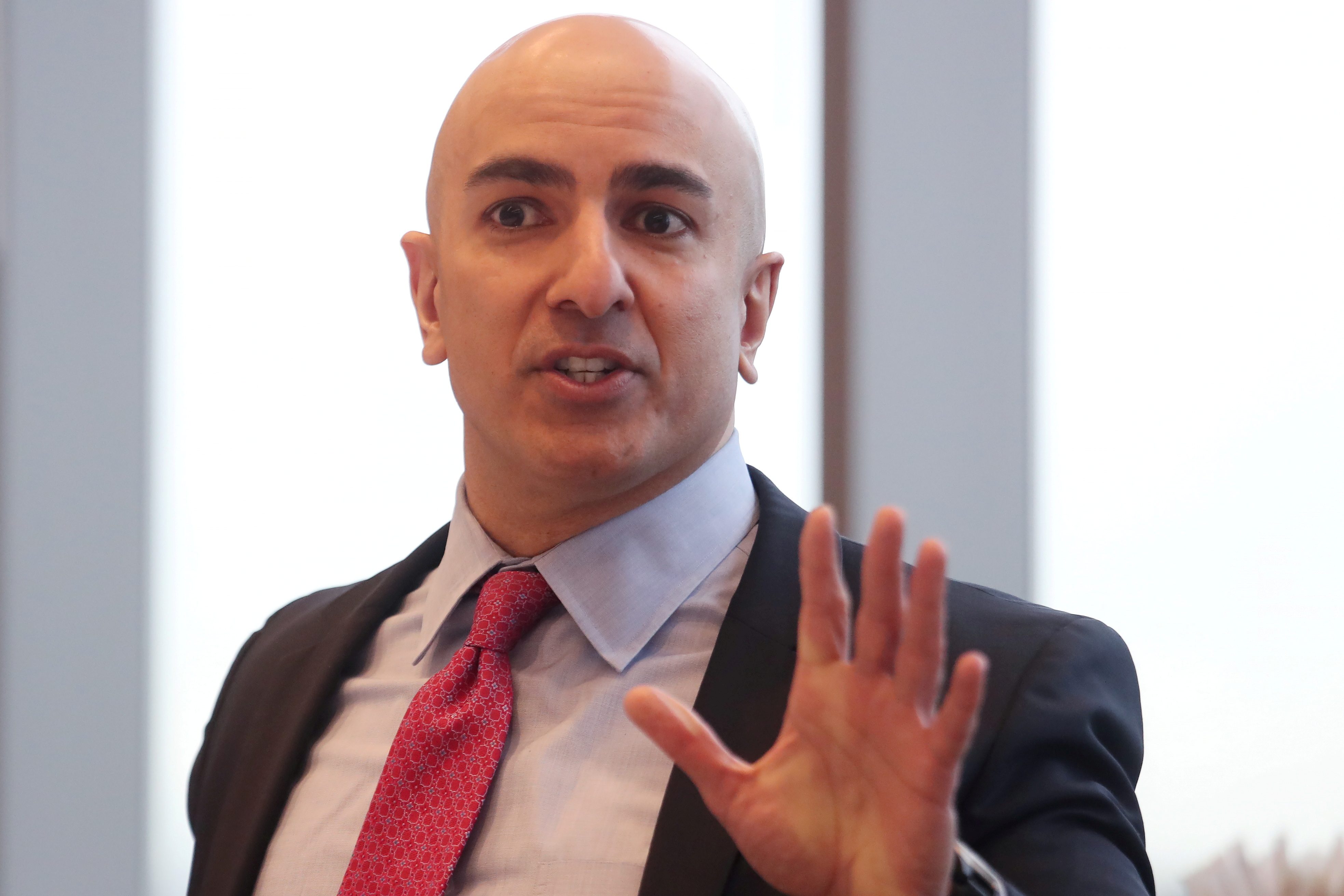 President of the Federal Reserve Bank of Minneapolis Neel Kashkari speaks during an interview in New York, U.S., March 29, 2019. REUTERS/Shannon Stapleton/File Photo