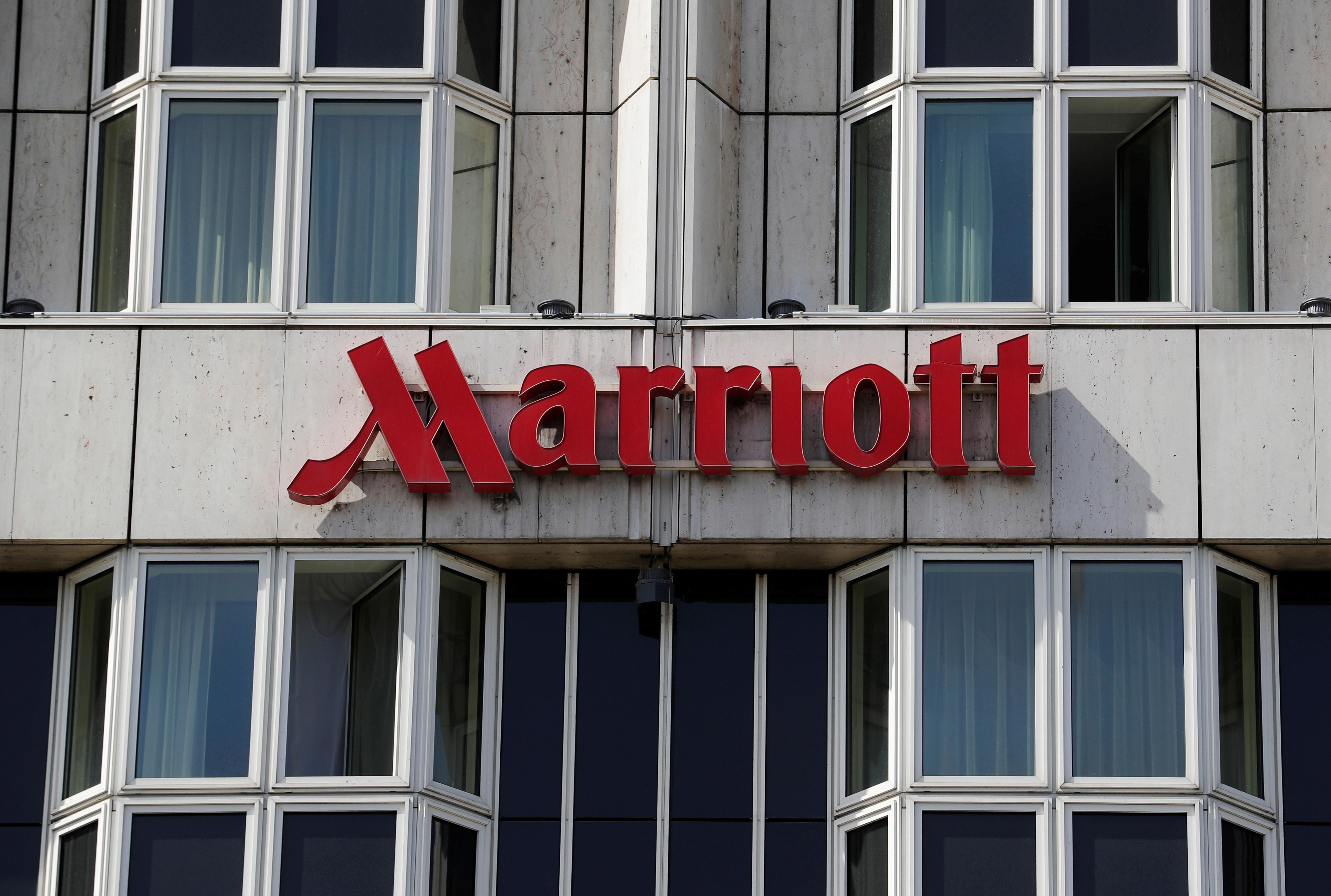Logo of Marriott hotel is seen in Vienna, Austria April 9, 2018. REUTERS/Heinz-Peter Bader