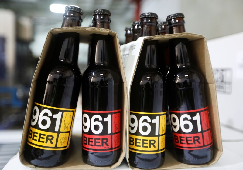 Bottles of 961 Beer are seen inside a beer factory in Mazraat Yachouh, Lebanon June 11, 2021. REUTERS/Mohamed Azakir