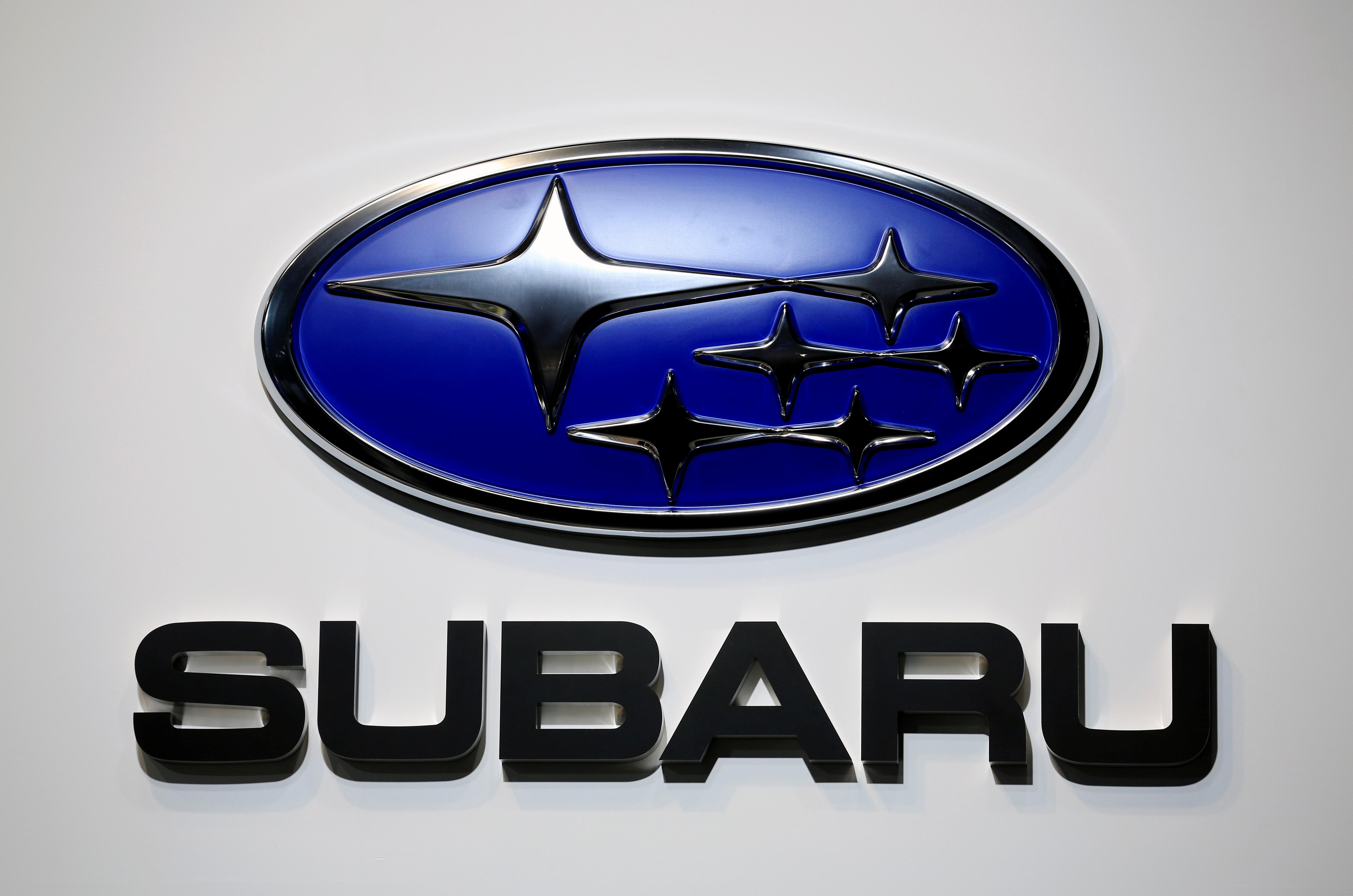 A Subaru logo is displayed at the Tokyo Motor Show, in Tokyo, Japan October 23, 2019. REUTERS/Soe Zeya Tun