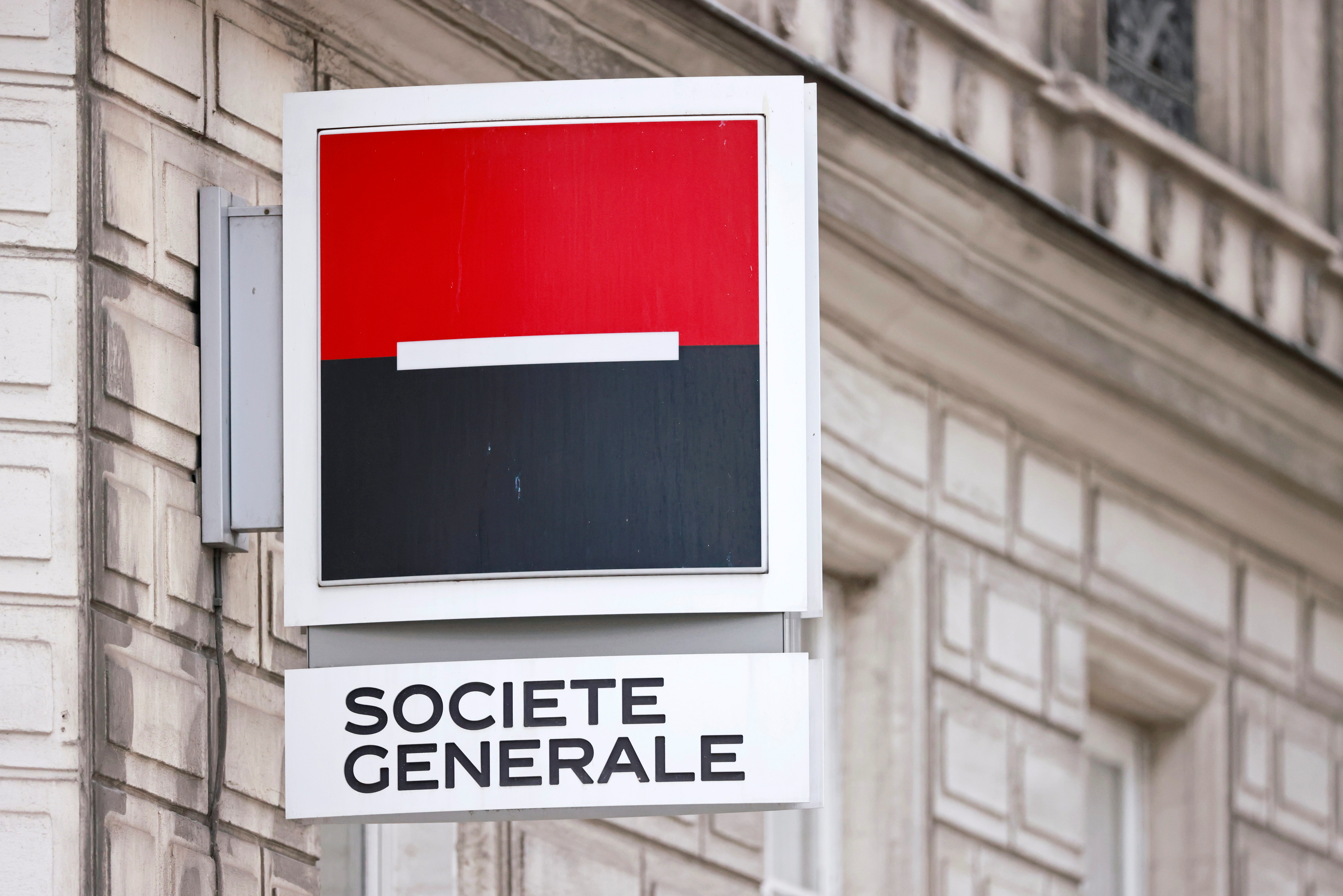 A Société Générale sign is seen in Paris, France, August 1, 2021. REUTERS/Sarah Meyssonnier