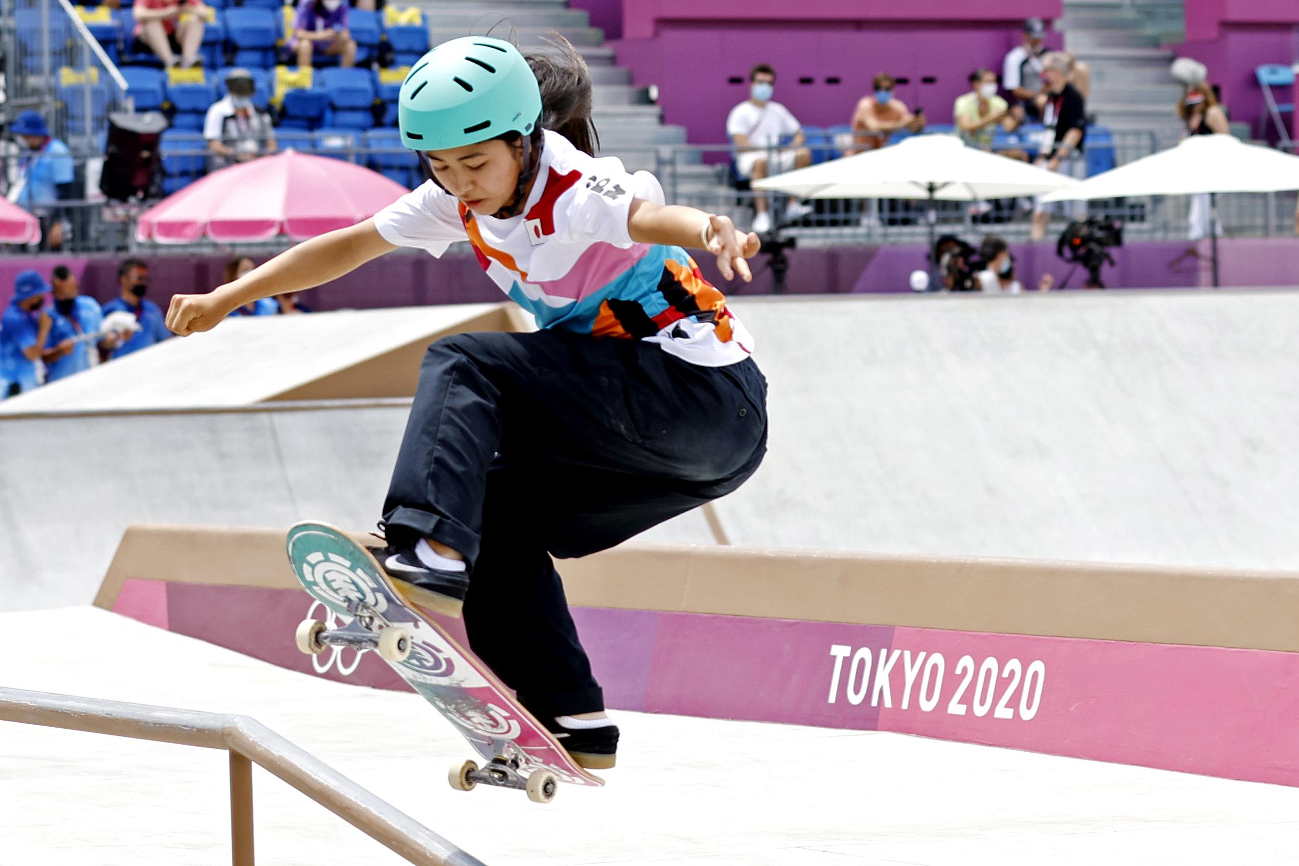 Jul 26, 2021; Tokyo, Japan; Funa Nakayama (JPN) competes in the womens street skateboard during the Tokyo 2020 Olympic Summer Games at Ariake Urban Sports Park. Mandatory Credit: Geoff Burke-USA TODAY Sports