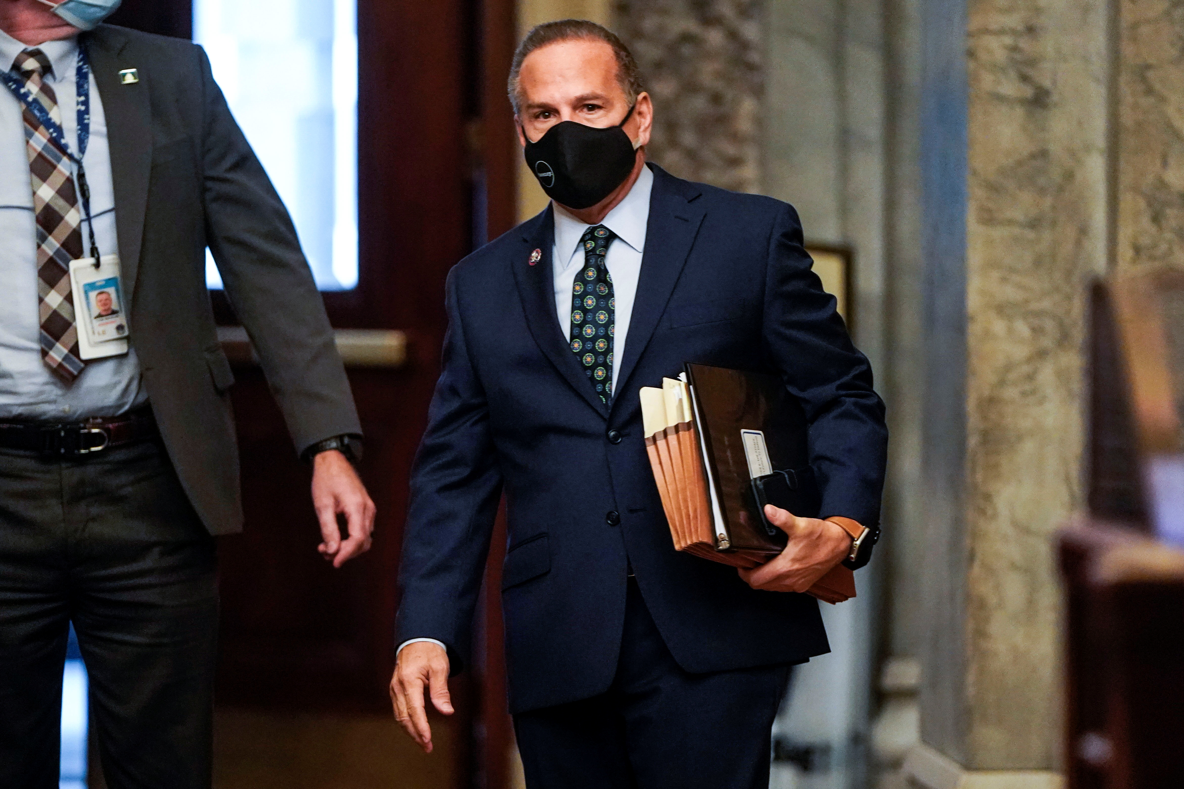 U.S. House impeachment manager Rep. David Cicilline (D-RI) arrives prior to the start of opening arguments in the impeachment trial of former U.S. President Donald Trump, on charges of inciting the deadly attack on the U.S. Capitol, in Washington, U.S., February 10, 2021. REUTERS/Joshua Roberts/Pool