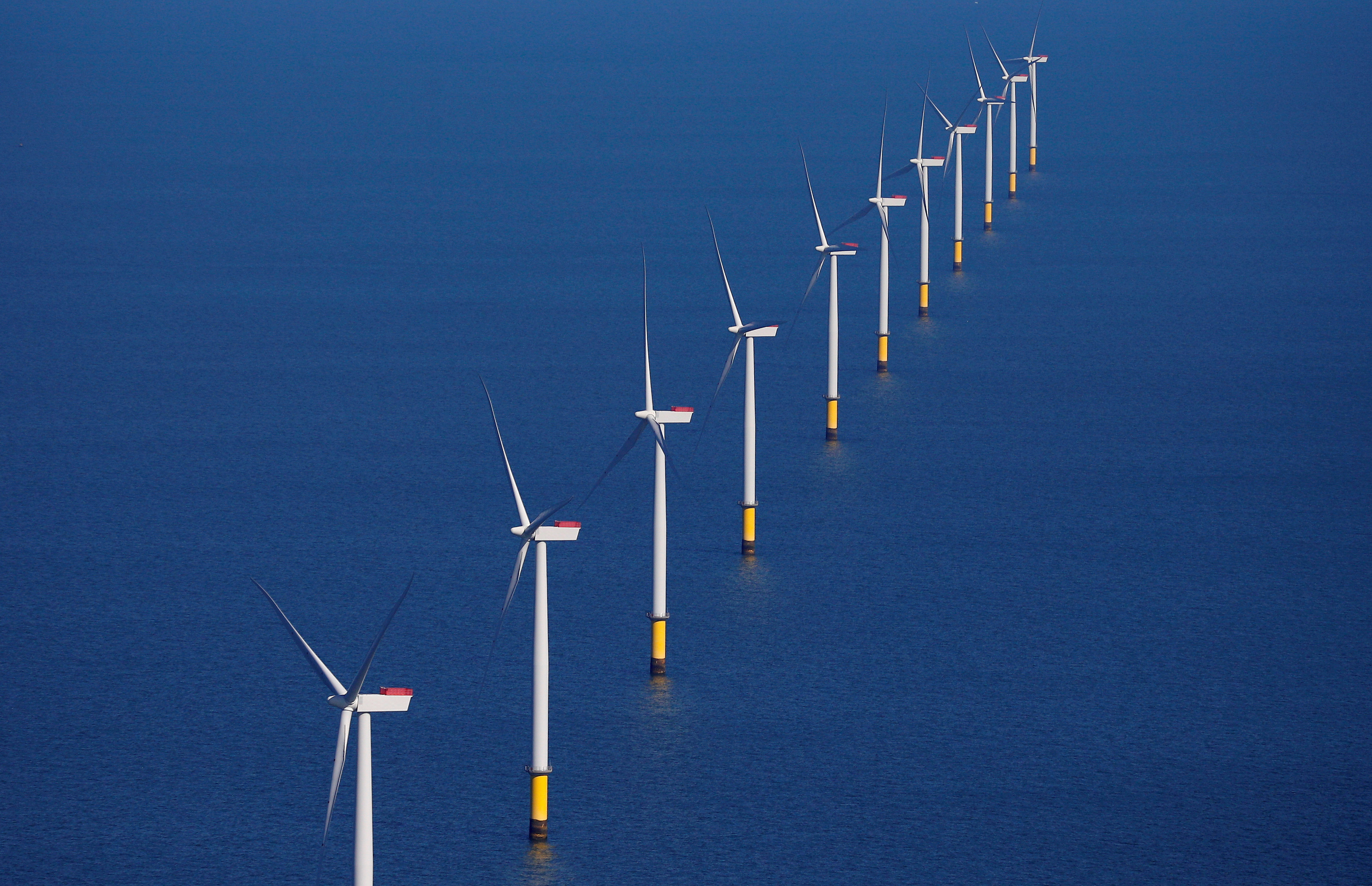 General view of the Walney Extension offshore wind farm operated by Orsted off the coast of Blackpool, Britain September 5, 2018. REUTERS/Phil Noble//File Photo