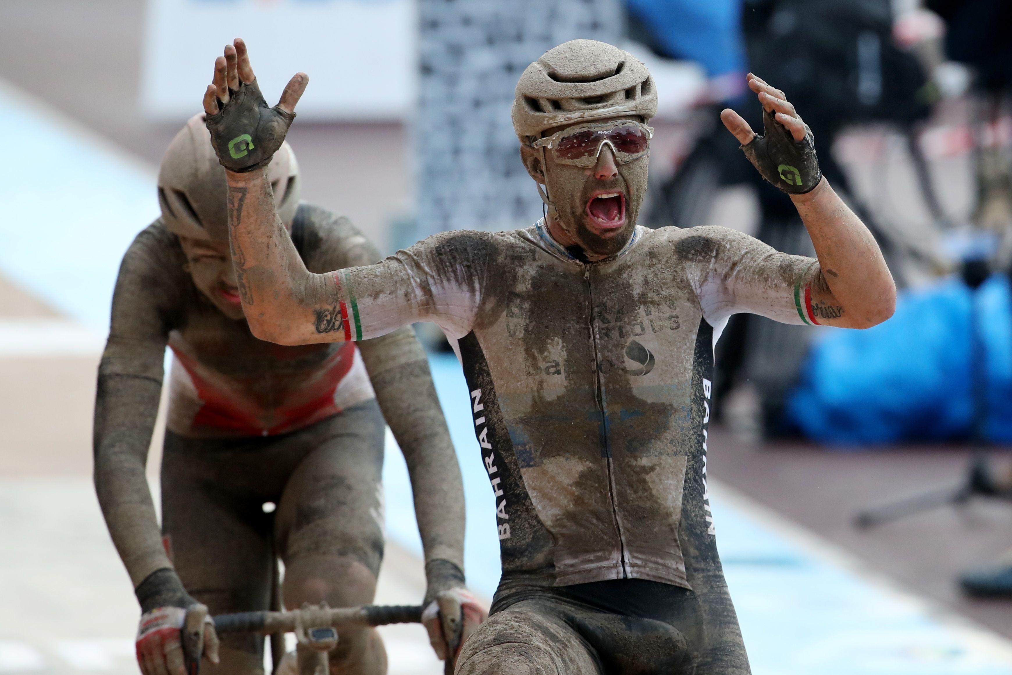 Cycling - Paris-Roubaix - Roubaix, France October 3, 2021  Italy's Sonny Colbrelli celebrates winning the race REUTERS/Yves Herman