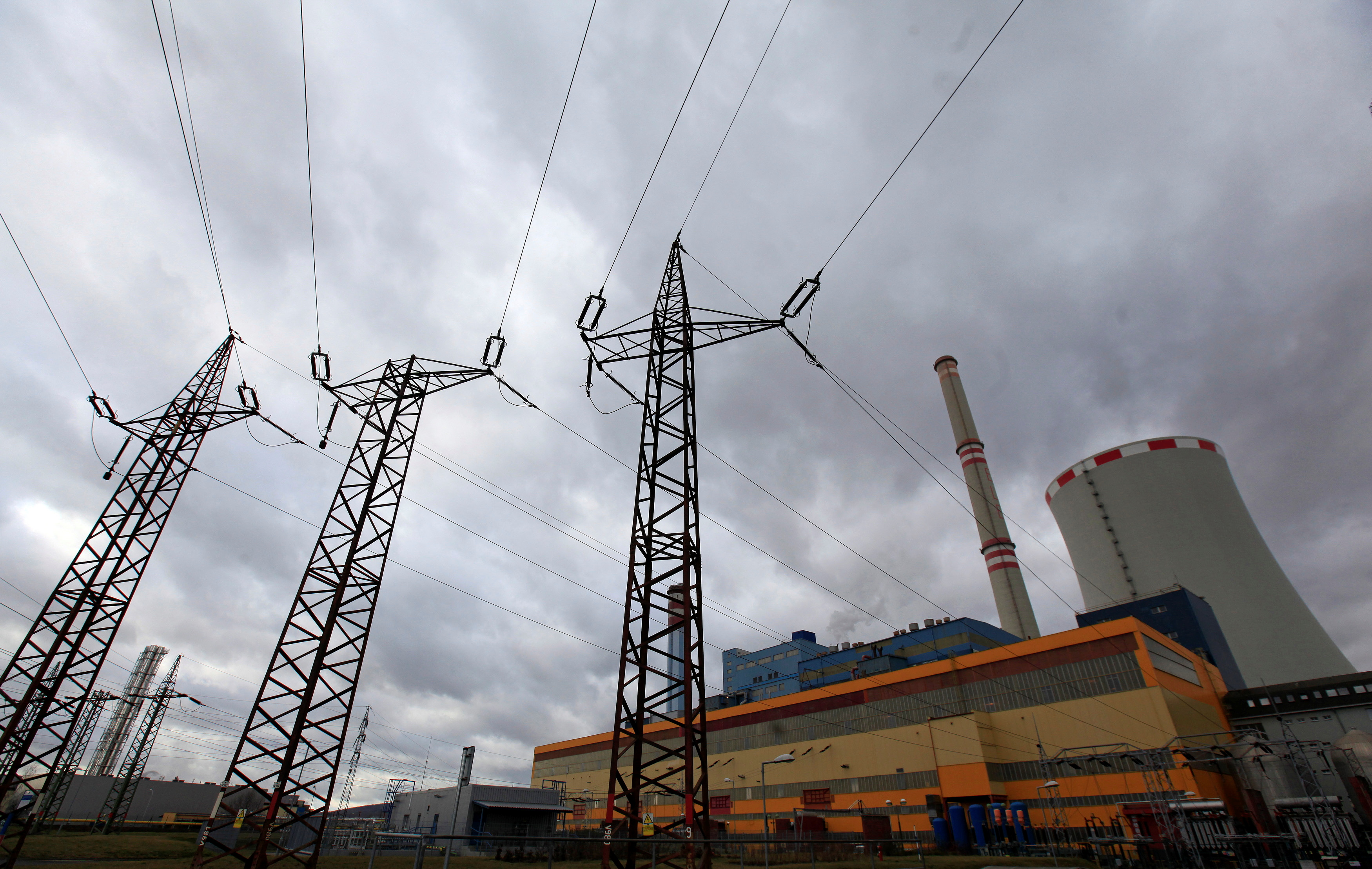 Electricity pylons carry power from CEZ's Ledvice coal-fired power plant near the village of Ledvice, Czech Republic, February 9, 2016.   REUTERS/David W Cerny