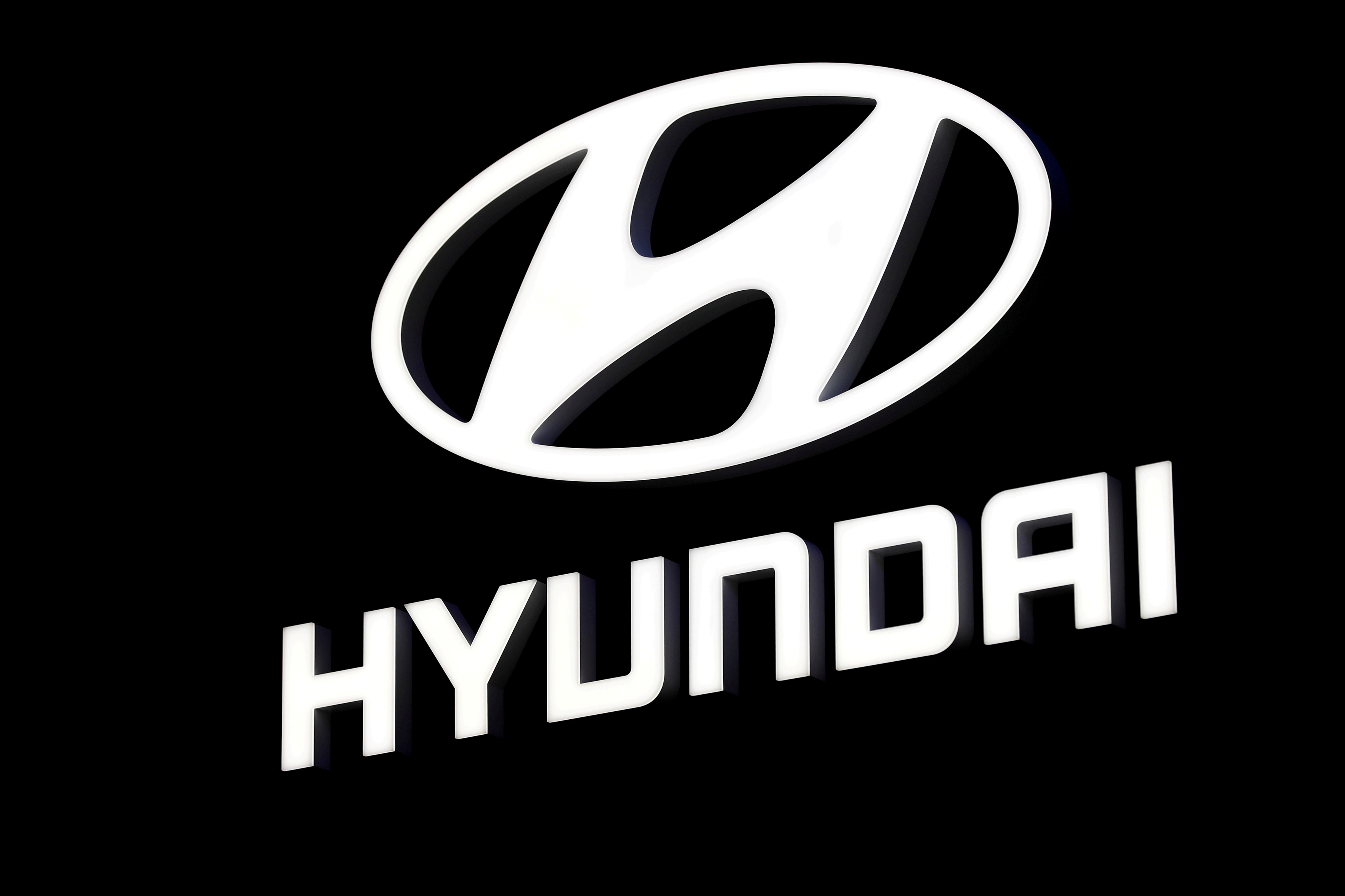 The Hyundai booth displays the company logo at the North American International Auto Show in Detroit, Michigan, U.S. January 16, 2018.  REUTERS/Jonathan Ernst/File Photo/File Photo
