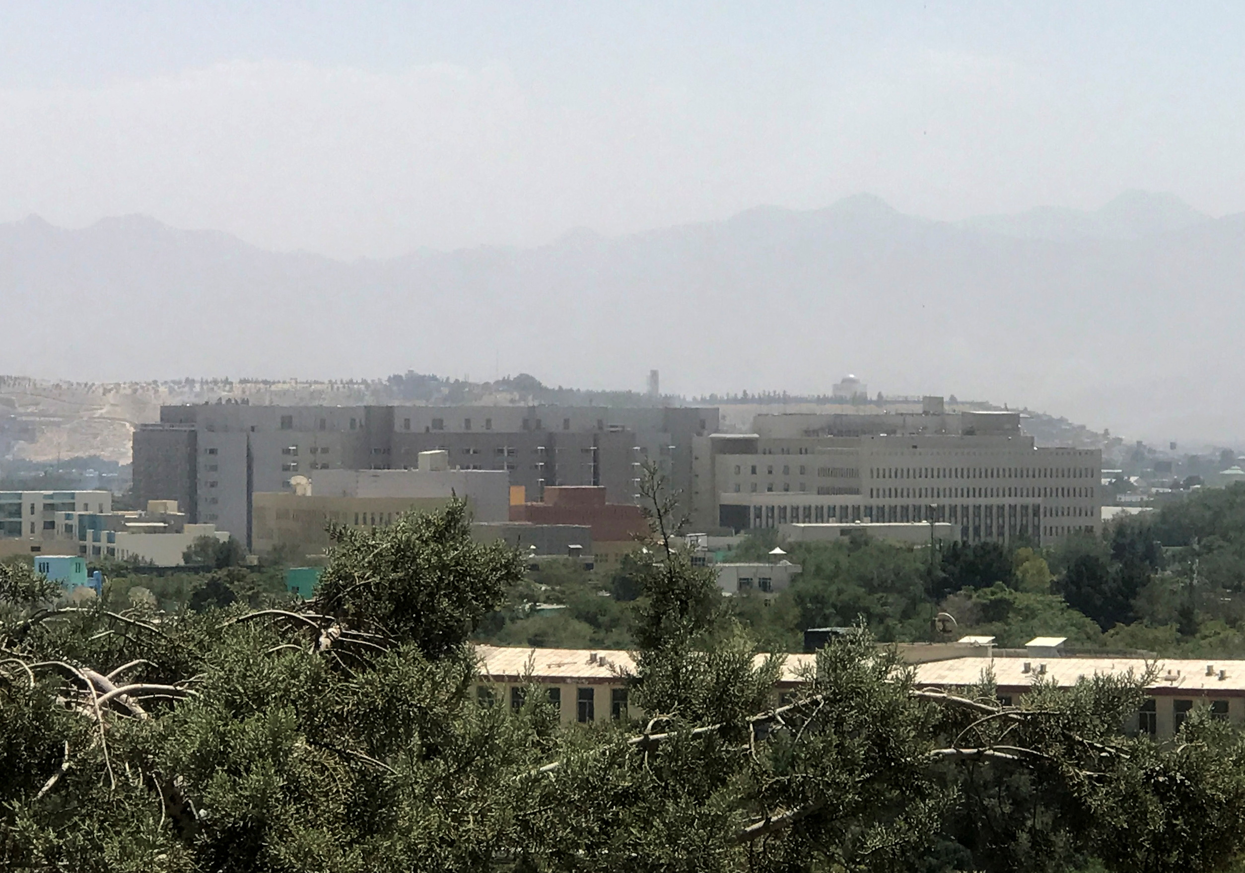 A general view of the U.S. embassy in Kabul, Afghanistan, August 15, 2021. REUTERS/Stringer