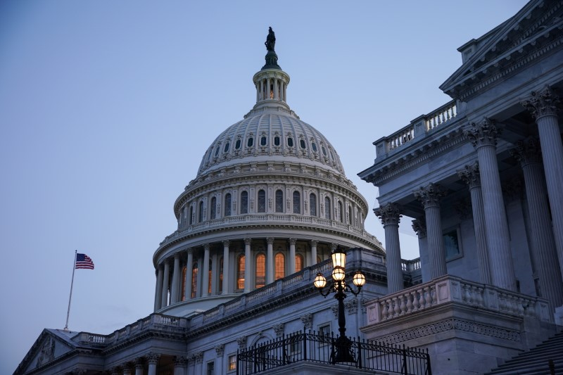 The exterior of the U.S. Capitol is seen as Senators work to advance the bipartisan infrastructure bill in Washington, U.S., August 8, 2021. REUTERS/Sarah Silbiger/File Photo
