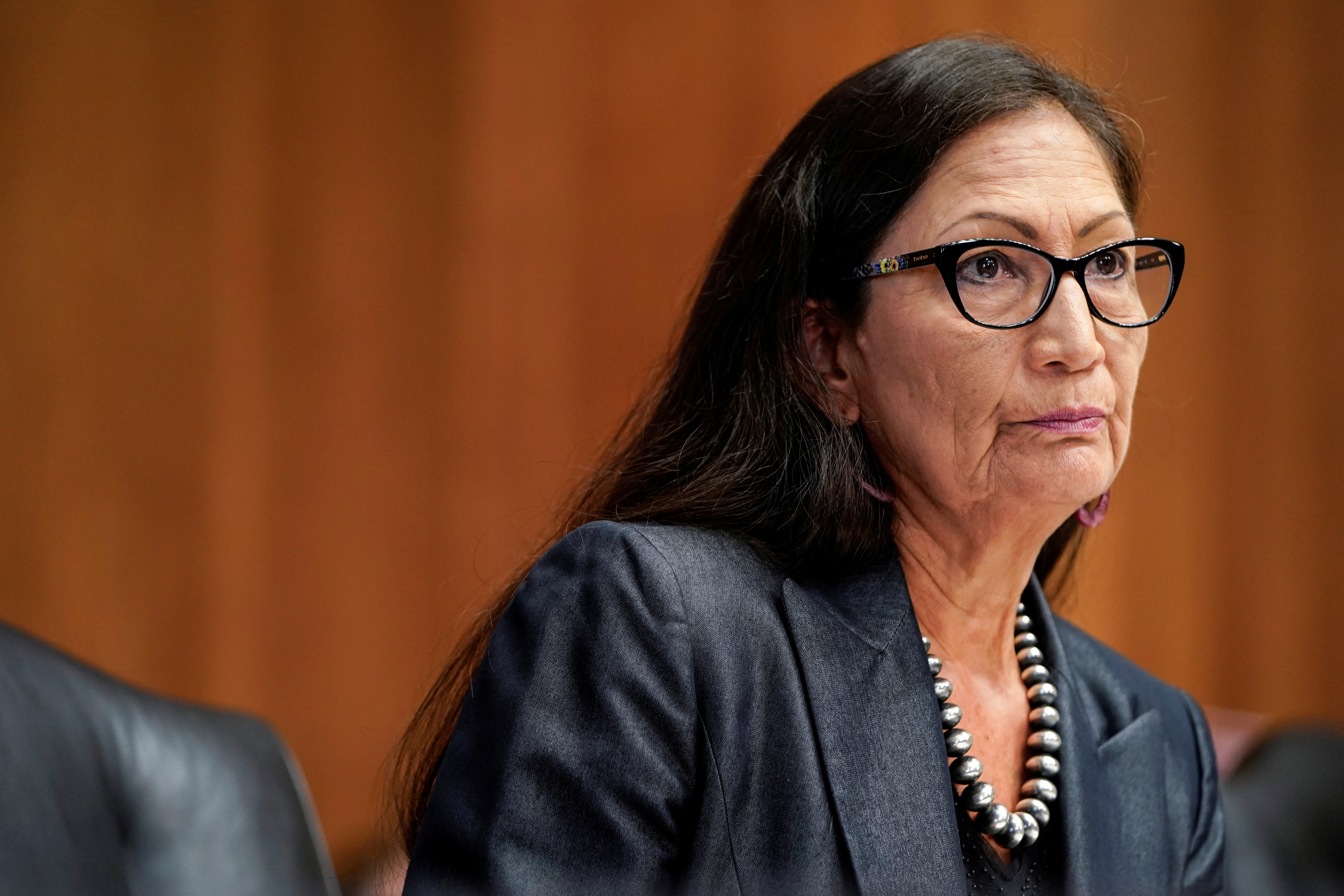 U.S. Secretary of Interior Deb Haaland listens to a question during a hearing for a budget request for the Department of the Interior for 2022 to the Senate Committee on Energy and Natural Resources on Capitol Hill in Washington, U.S., July 27, 2021. REUTERS/Joshua Roberts