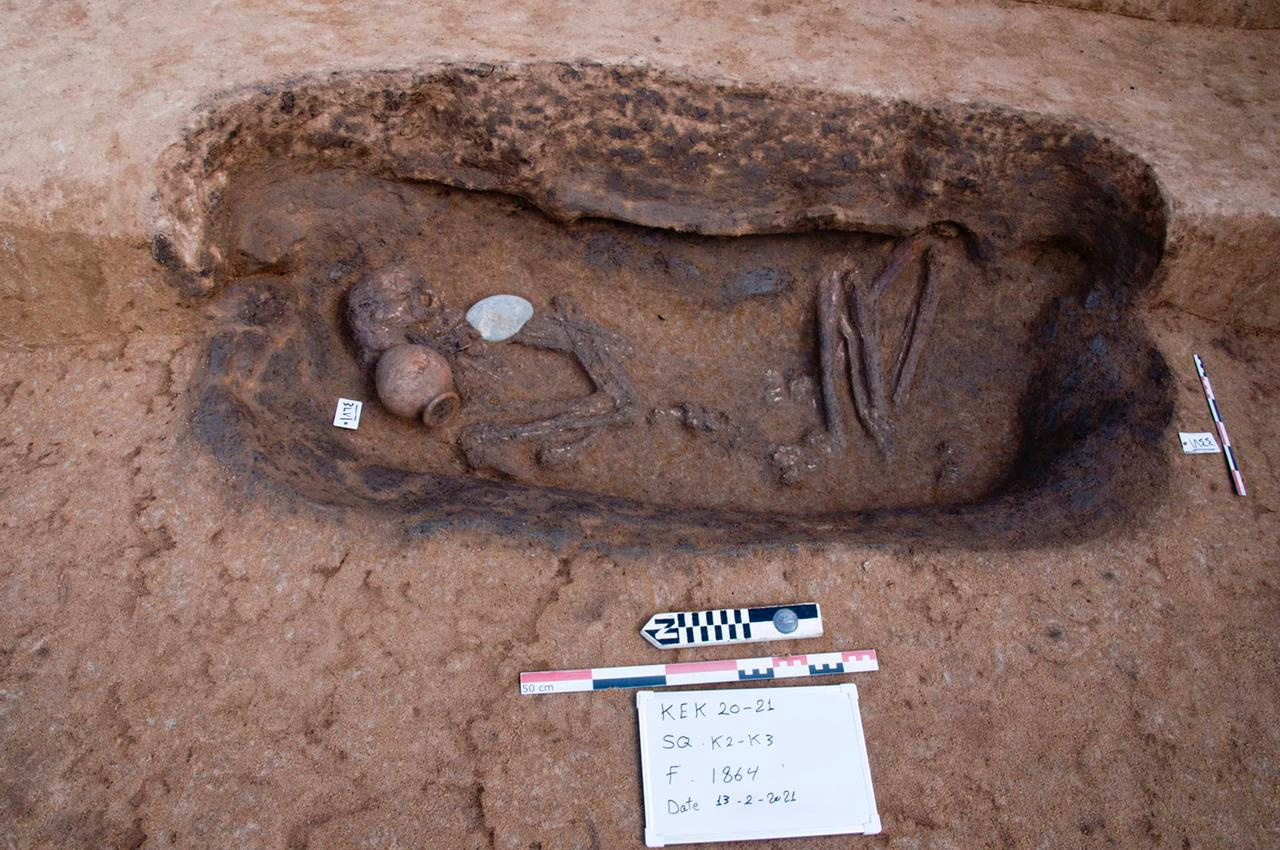 A human skeleton from a tomb is pictured at the Nile Delta, in this image released on April 27, 2021 by an archaeological mission operating in the archaeological area of Dakahlia Governorate via Egypt's Ministry of Antiquities, in Mansoura, Cairo. The Egyptian Ministry of Antiquities/Handout via REUTERS